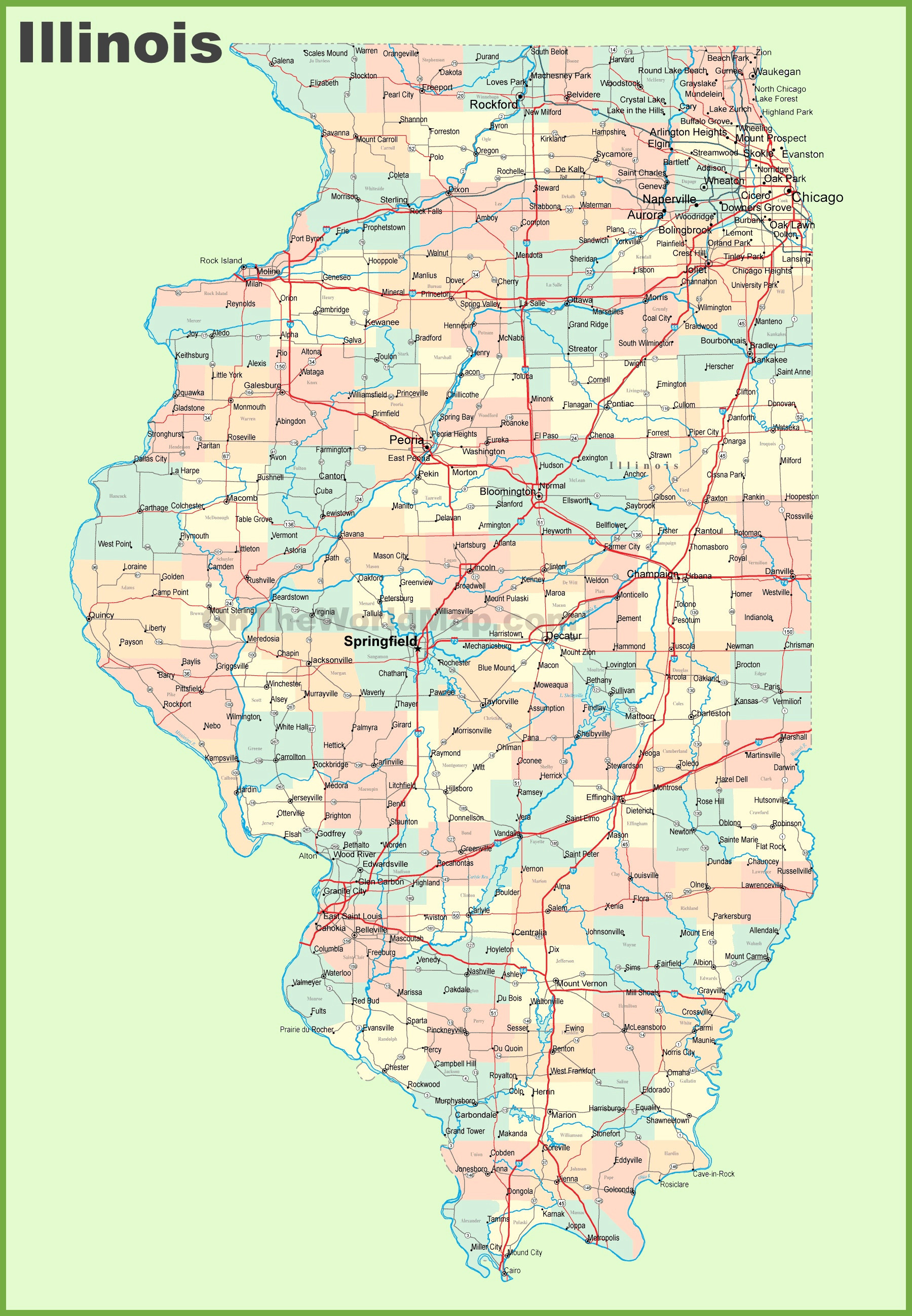 Printable Map Illinois New List Illinois Counties And Cities Map Uptuto