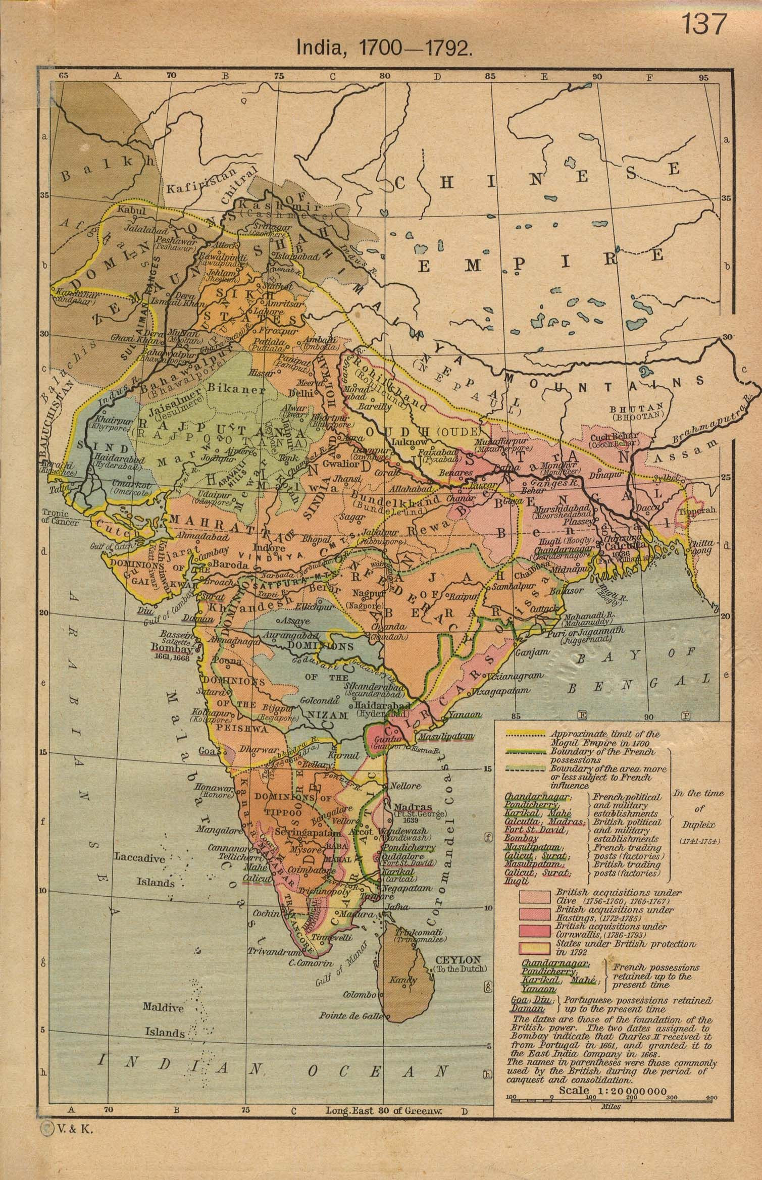 18th century India Map india • mappery UPSC prep