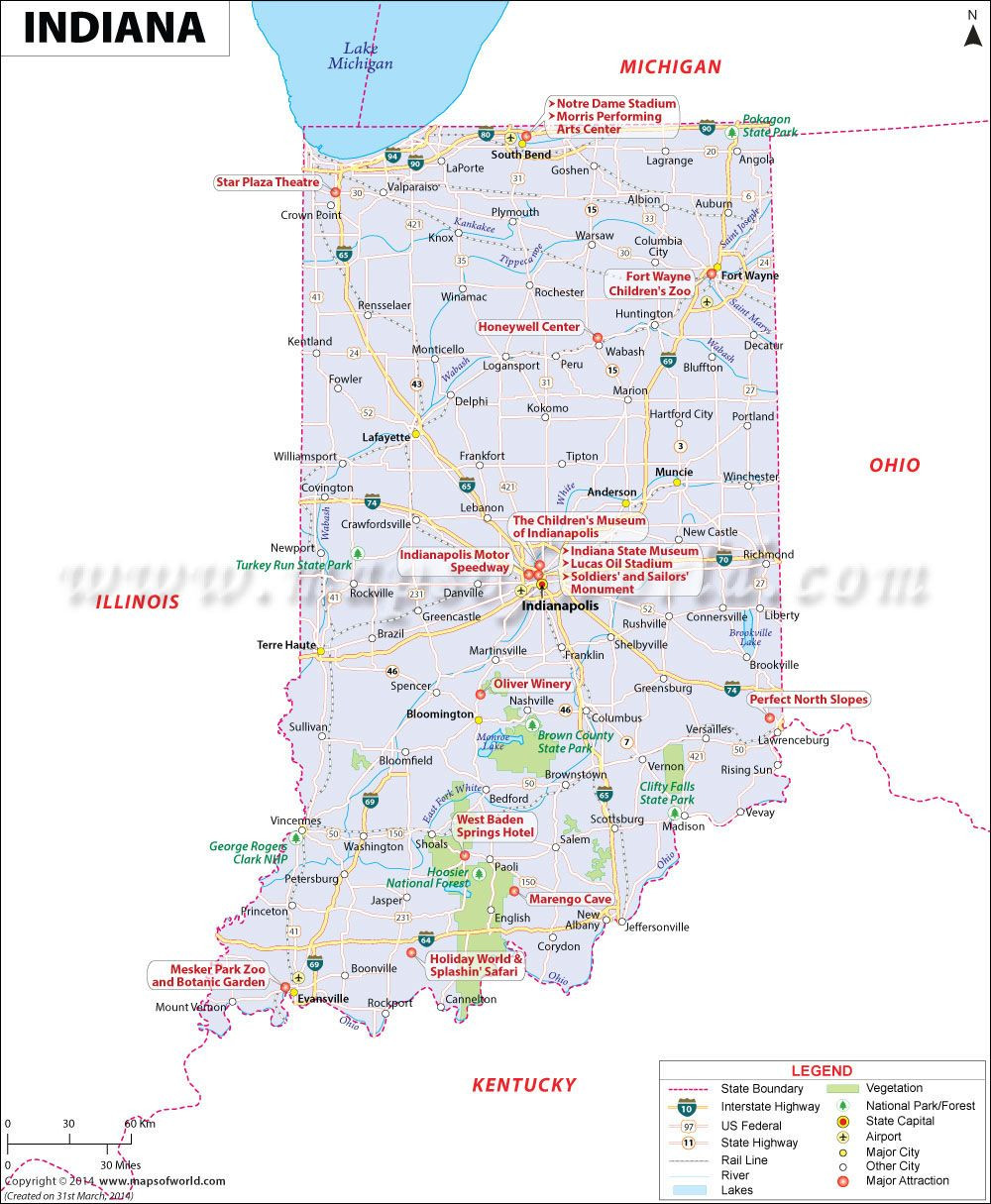 Indiana map showing the major travel attractions including cities