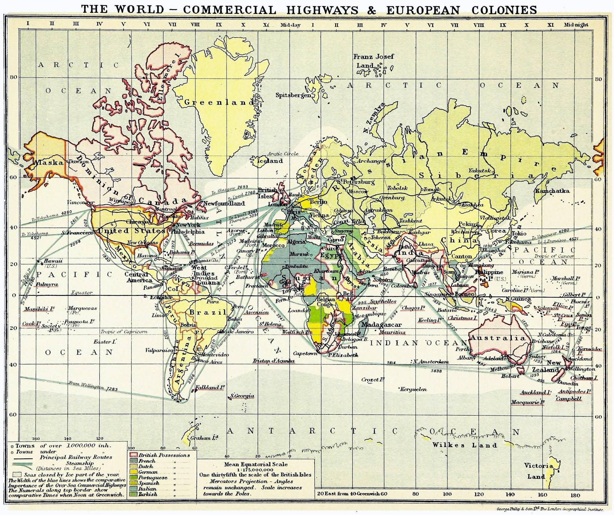 The World s mercial Highways & European Colonies 1913 map