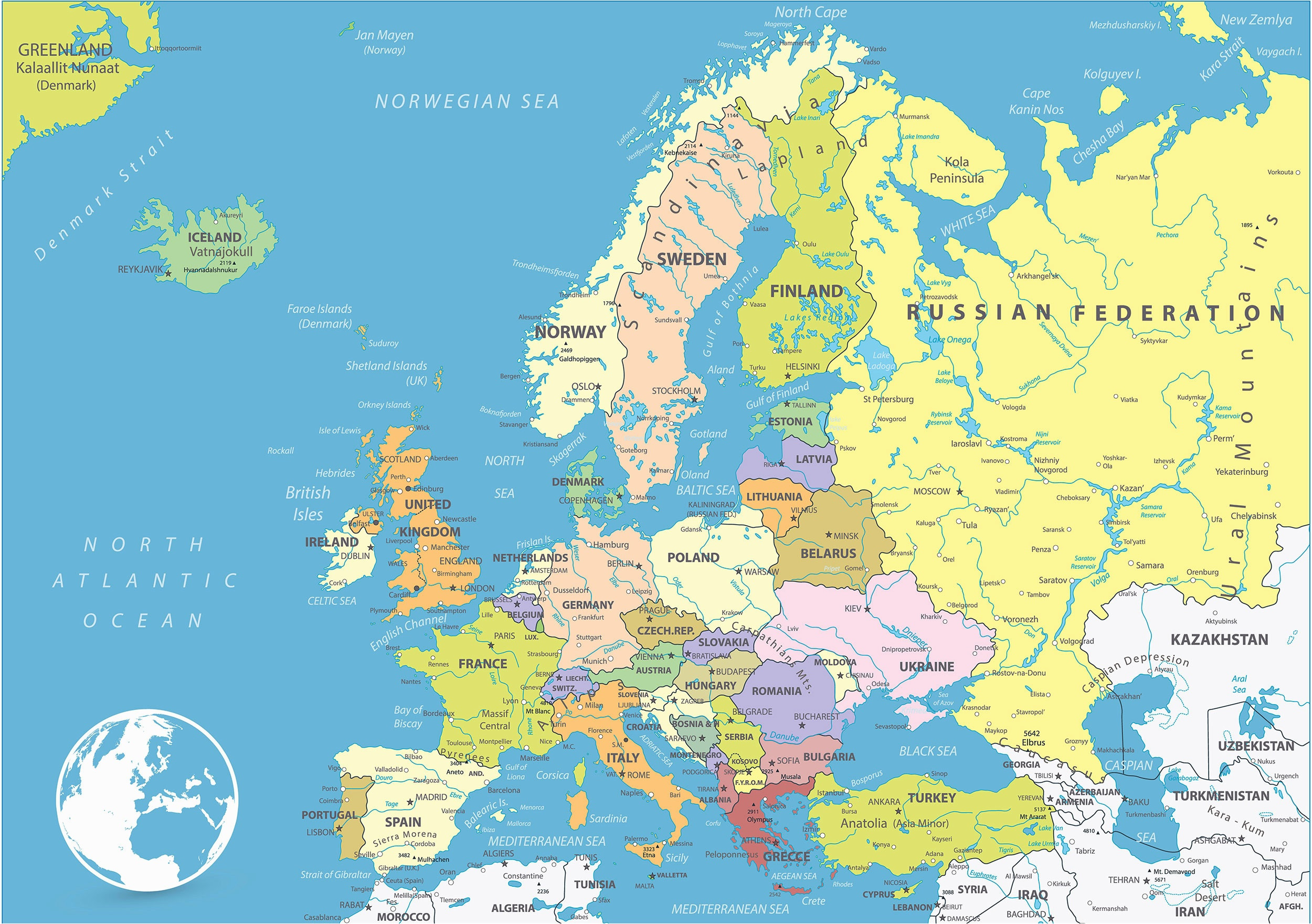 Printable Maps Western Europe Reference Map Europe