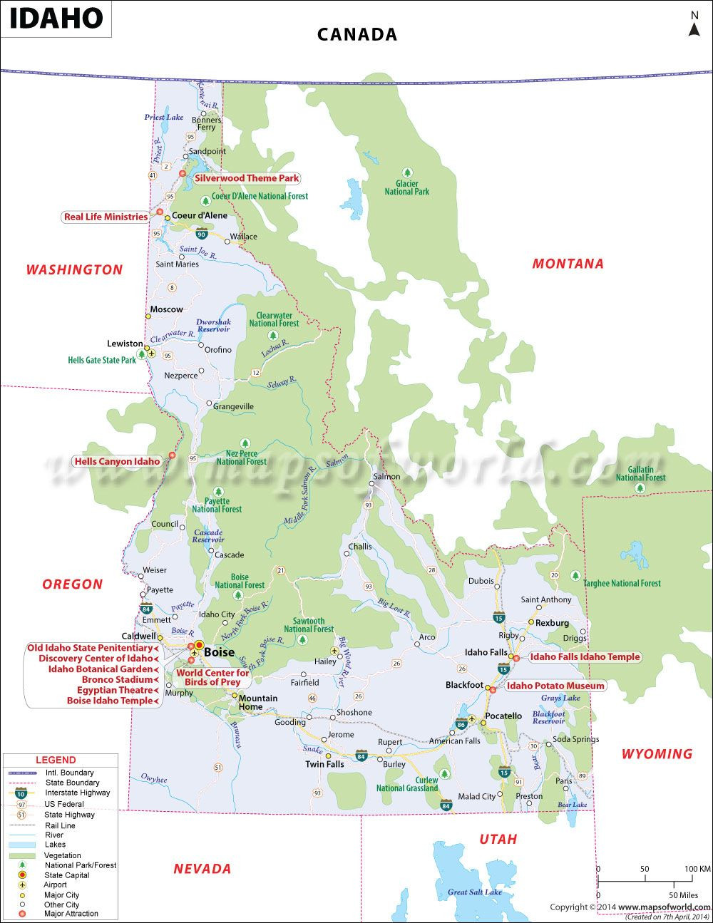 Idaho map showing the major travel attractions including cities