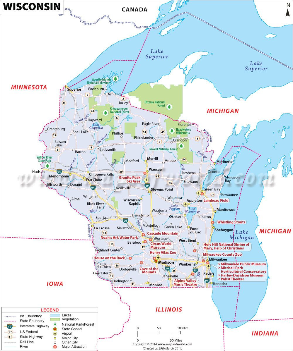 Wisconsin Map WI covers an area of 65 556 sq miles and it is 23rd largest state in the US