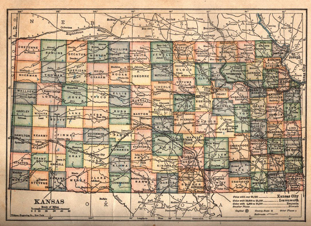 Printable Map Kansas Fresh Old Map Of Kansas 1910 Shows Railroads Kansas