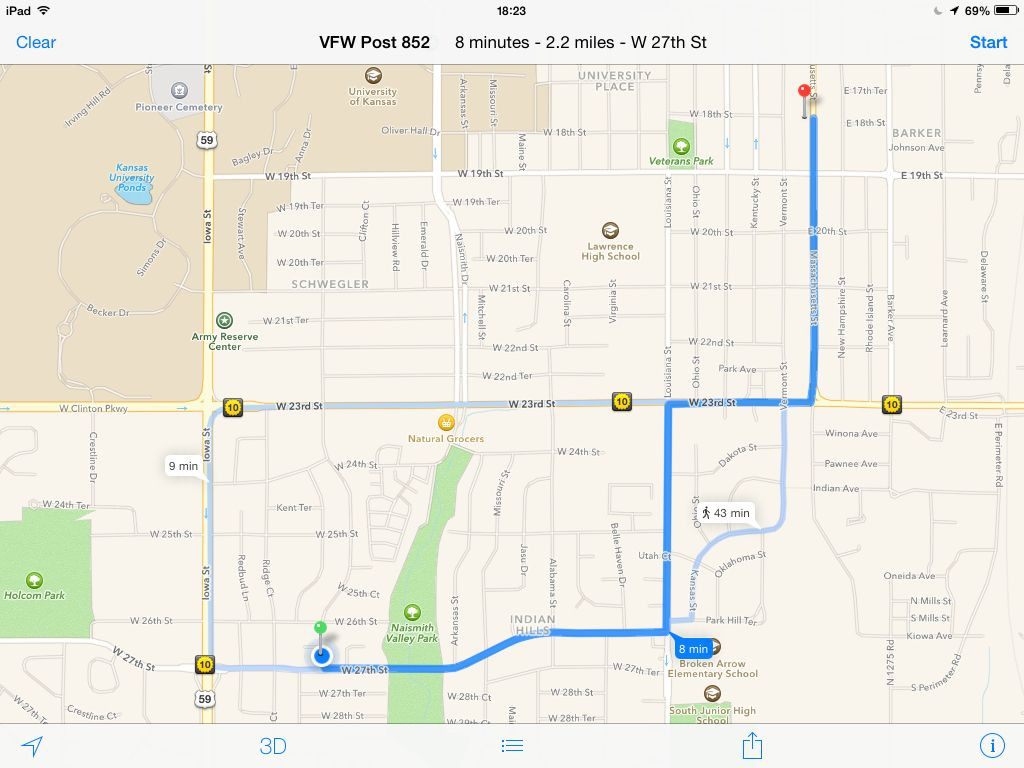 KVHAdventuring Routes to Kansas VFW Post 852 at 1801 Massachusetts Street s
