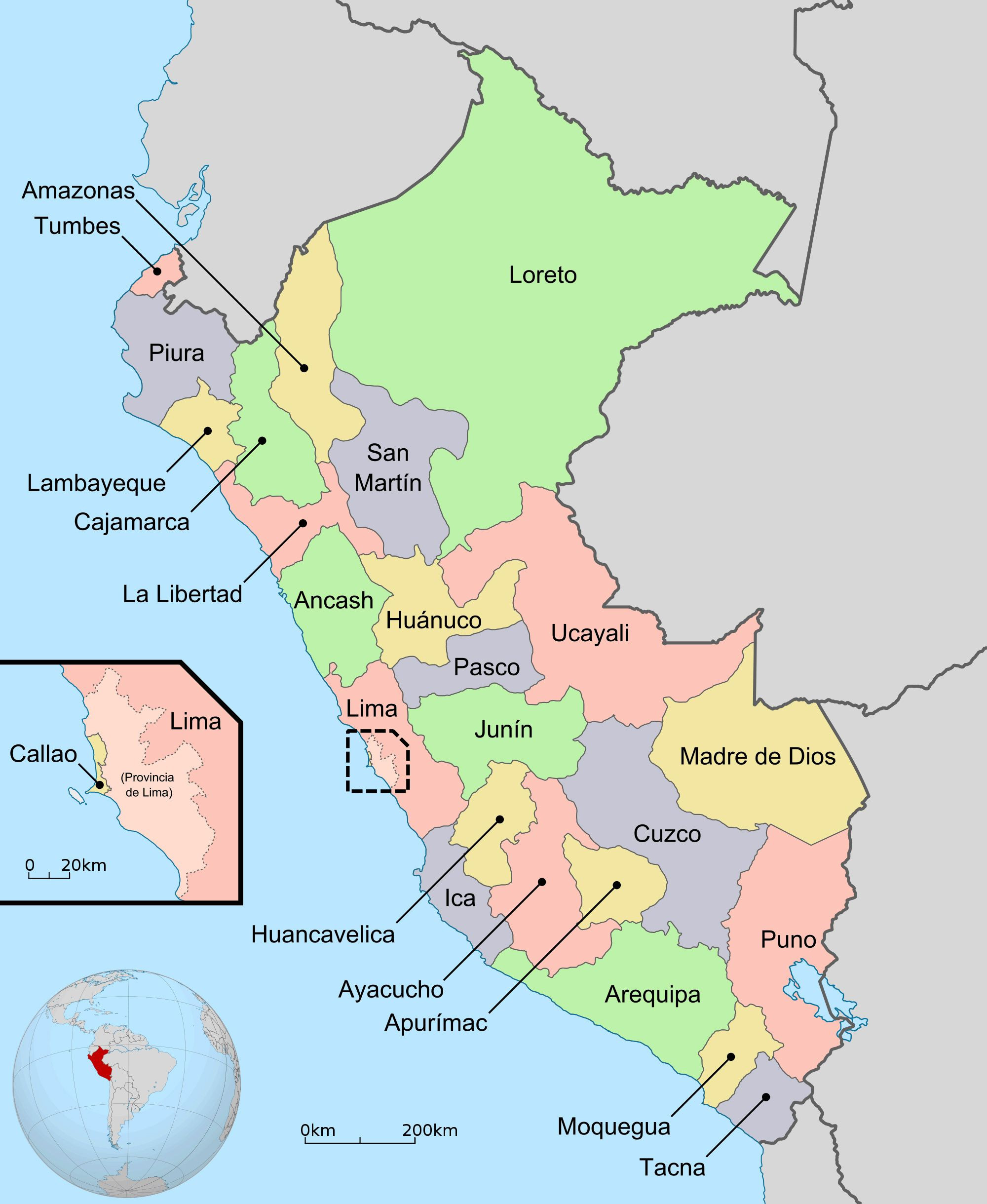 detailed regions and departments map of Peru Peru large