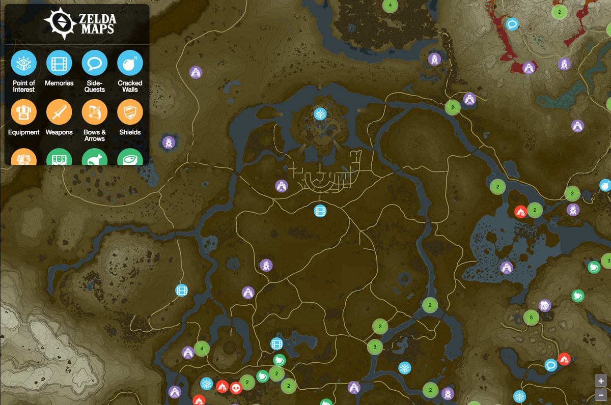 Printable Map Legend Of Zelda New Fan Made Breath Of the Wild Interactive Map Aims to Be the Game S