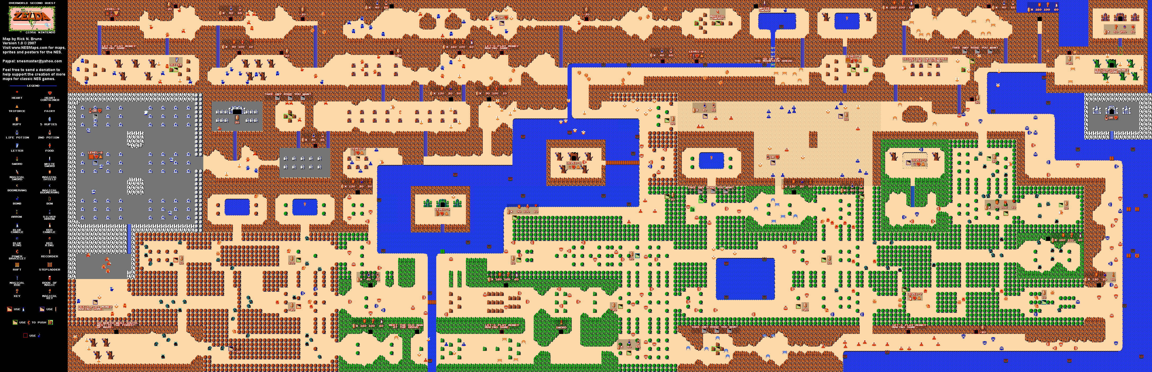 The Legend of Zelda Overworld Quest 2 NES Map