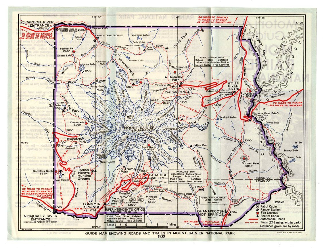 1938 Motorist Guide Map Mount Rainier National Park Roads Trails