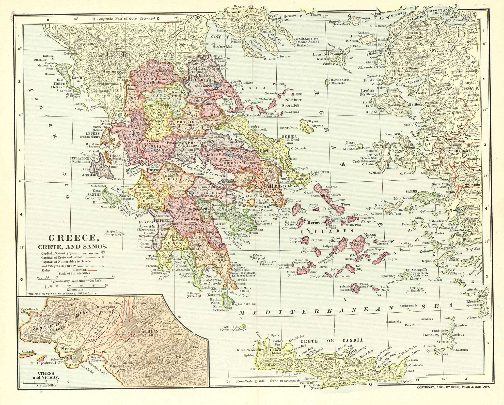 Map of Greece and Asia Minor 1903 mapmania Pinterest