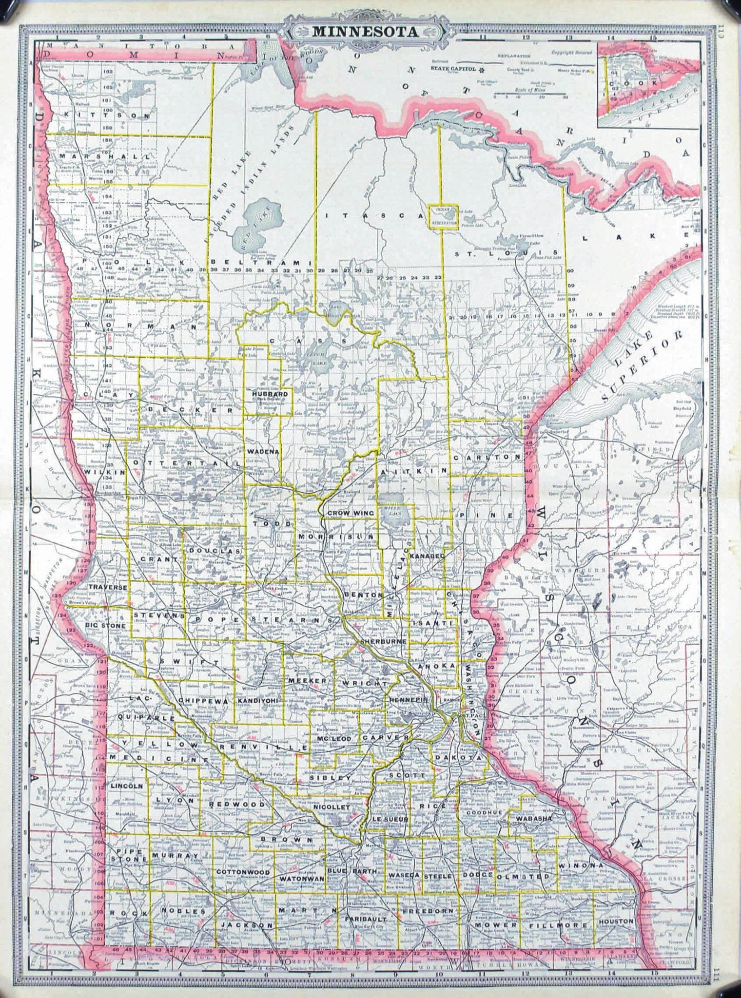 Minnesota Railroad and County Antique Map 1887