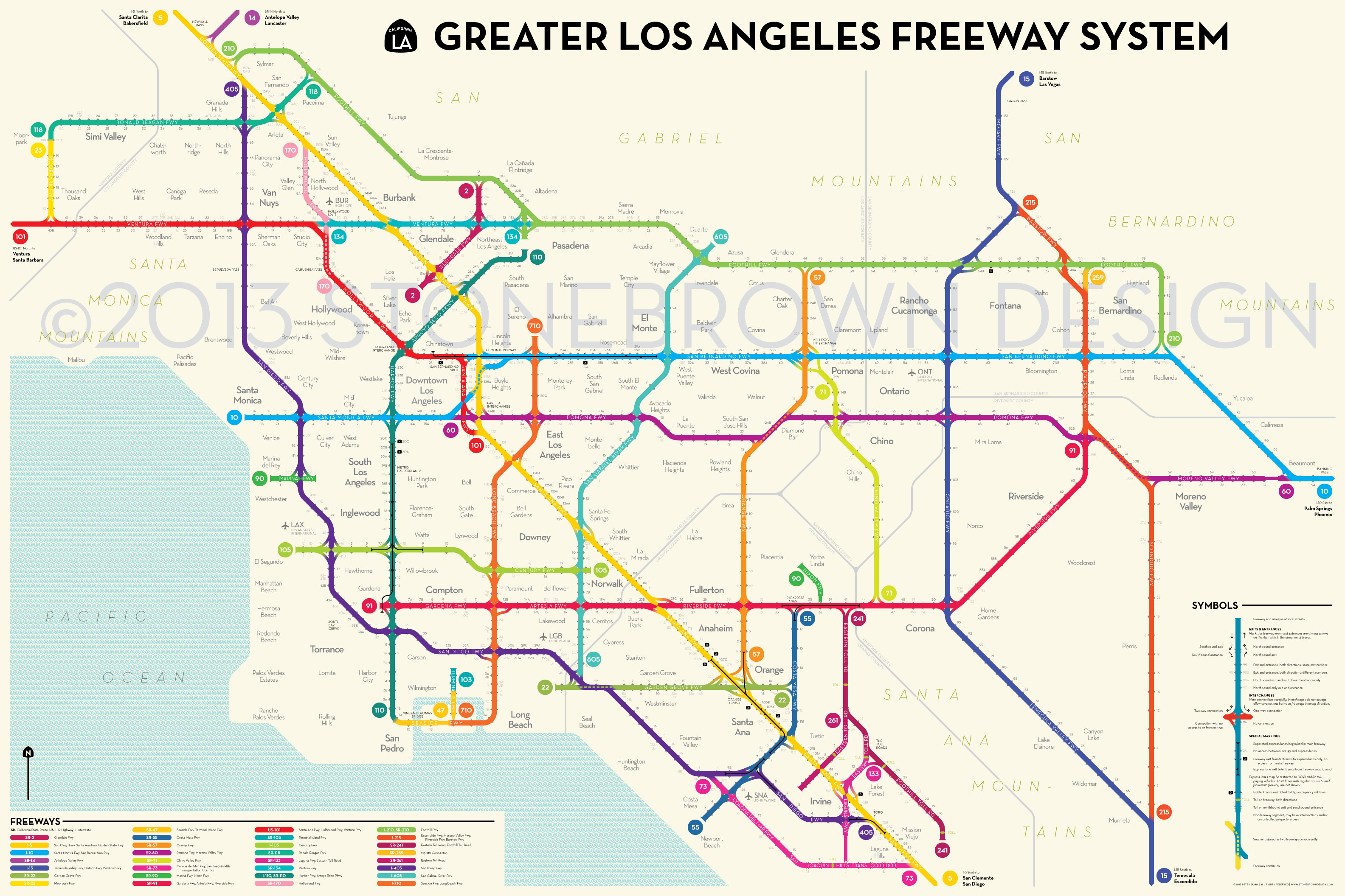 Detailed Tourist Map Los Angeles Los Angeles United States