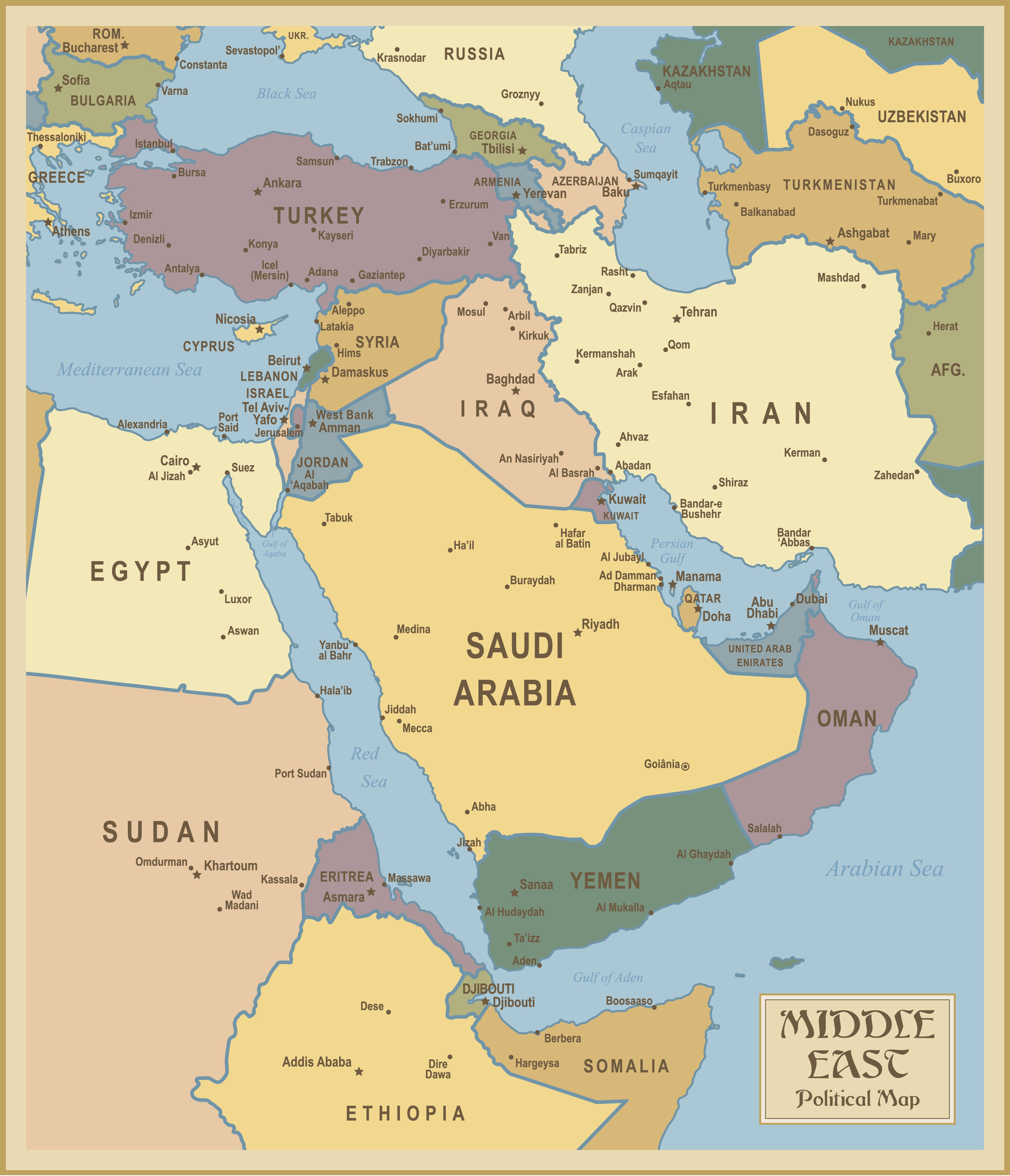 Middle East and north Africa Map Free Downloads Red Sea and