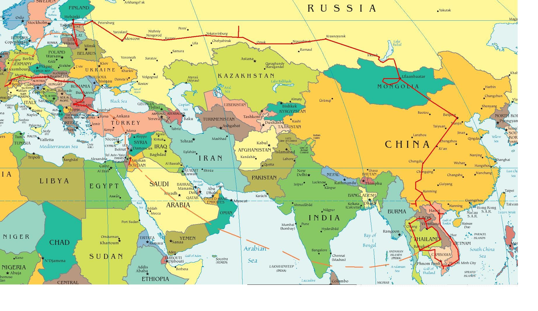 Printable Map Europe and asia Simple Eastern Europe and Middle