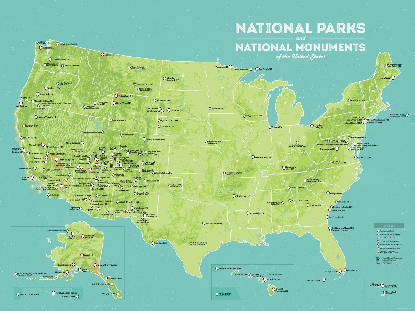 USA National Parks & National Monuments Map Poster green & aqua
