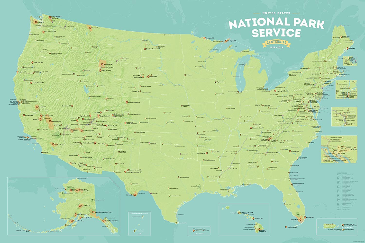 Printable Map National Parks Lovely Amazon National Park Service Centennial Map 24x36 Poster Tan