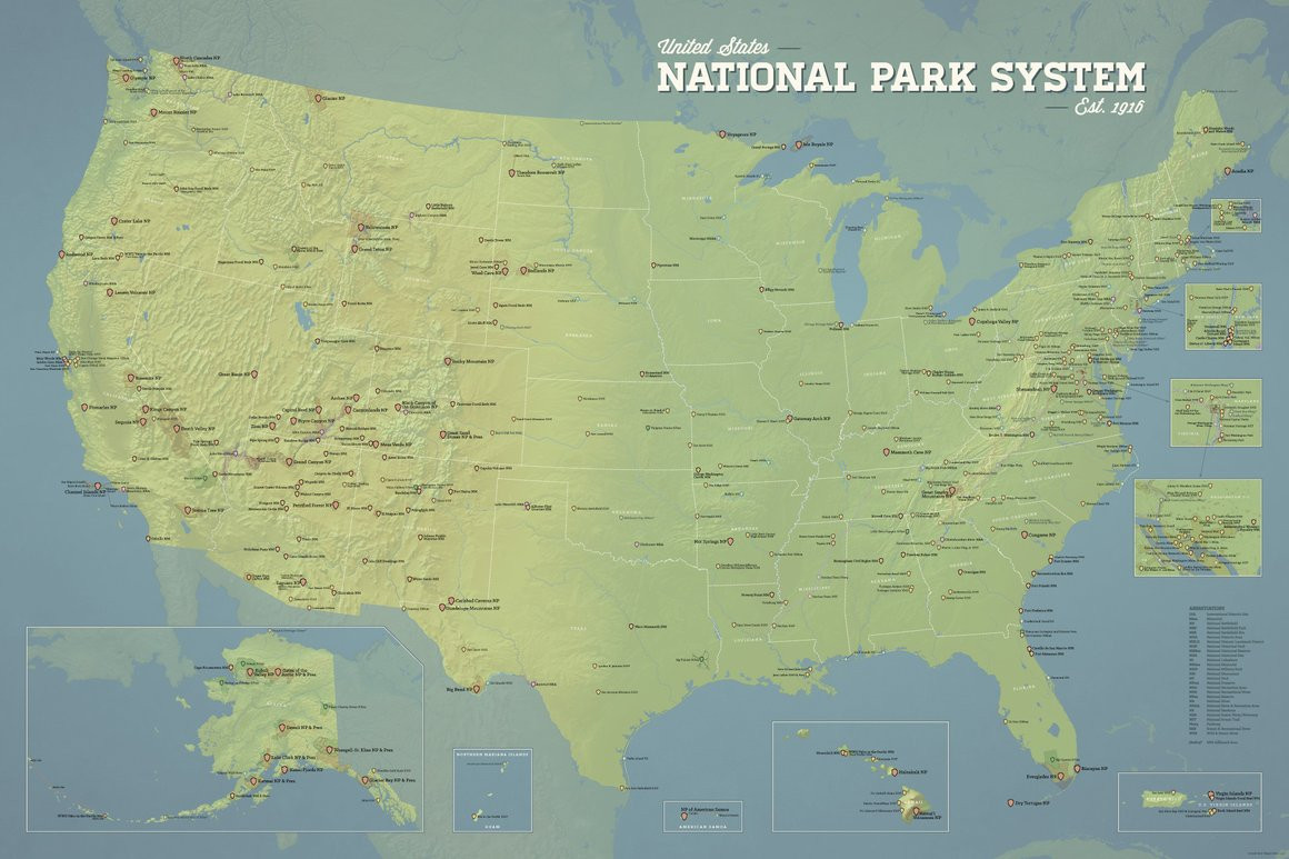 Printable Map National Parks Lovely North America National Parks Map 18x24 Poster Best Maps Ever