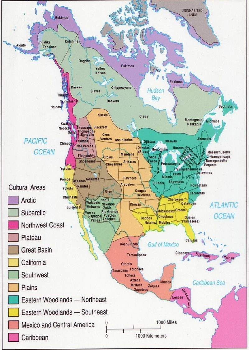American Indians and First Nations territory map with several Nations missing but over all