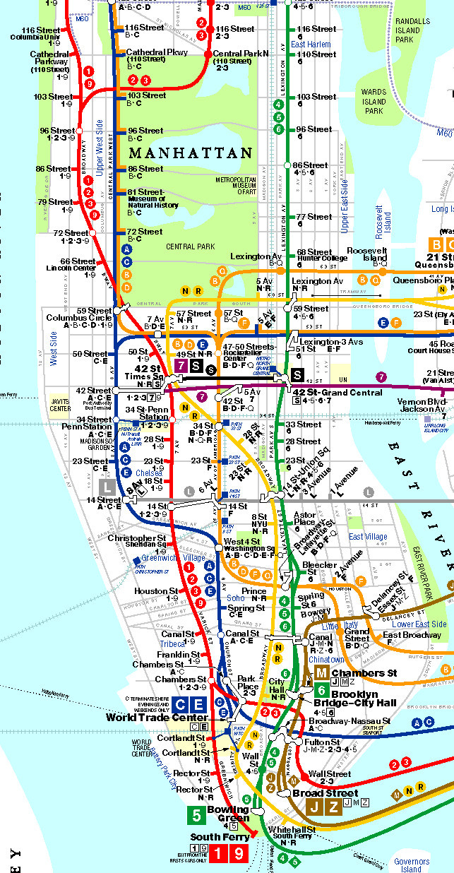 Printable Map New York City Awesome Manhattan Subway Map