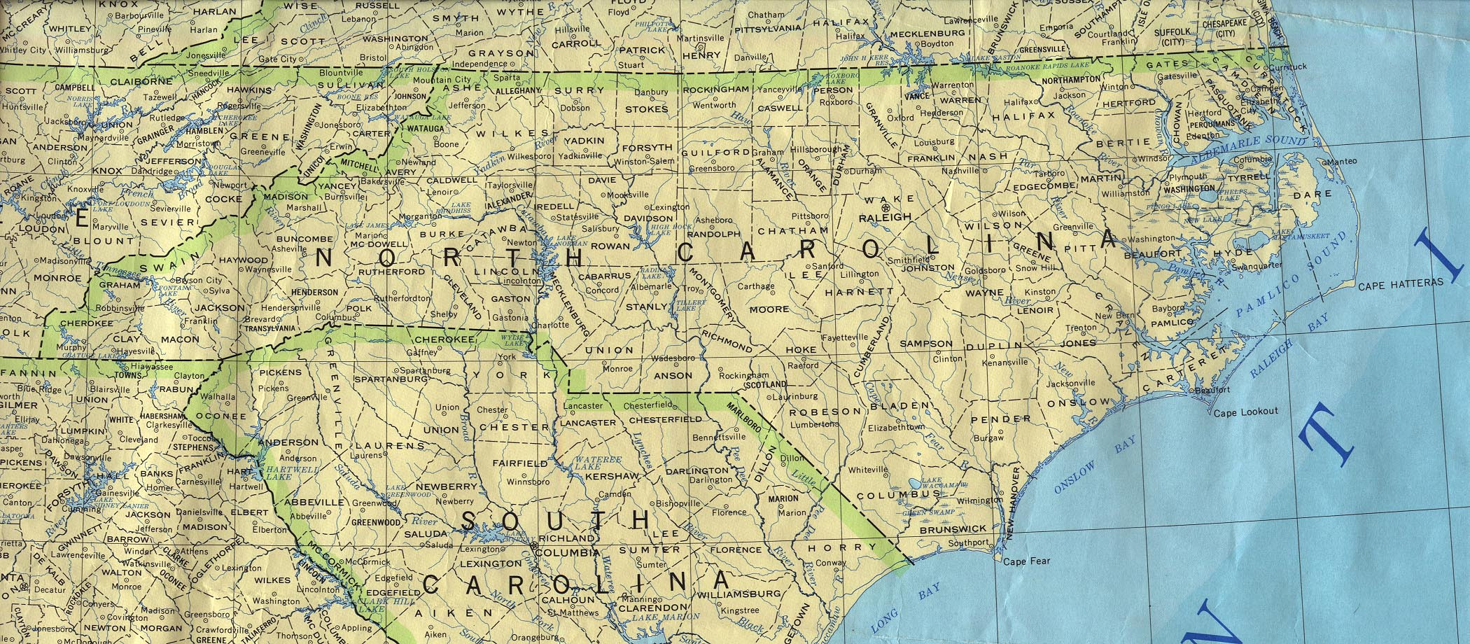 Printable Map North Carolina New Map Of Nc Cities And Counties And Travel Information