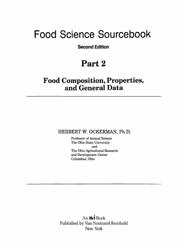Food Science Sourcebook Pt 2 Food position Properties And