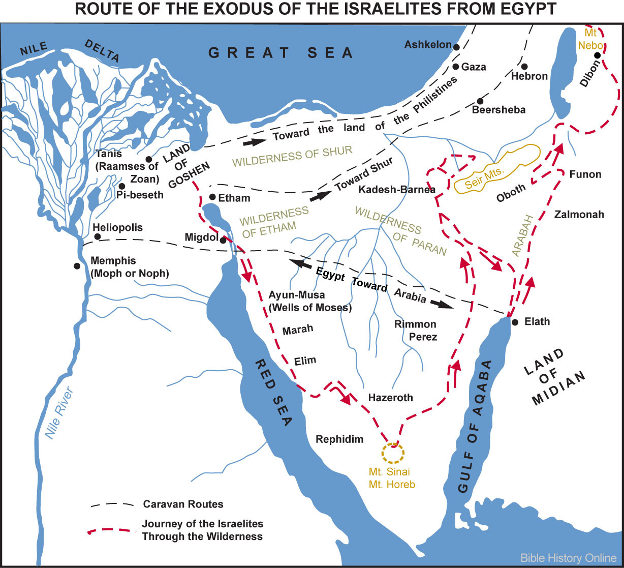 Map of the Route of the Exodus of the Israelites from Egypt Bible