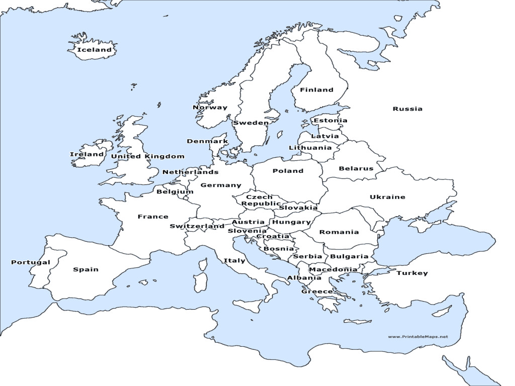 A Labeled Map Europe USA Free Printable