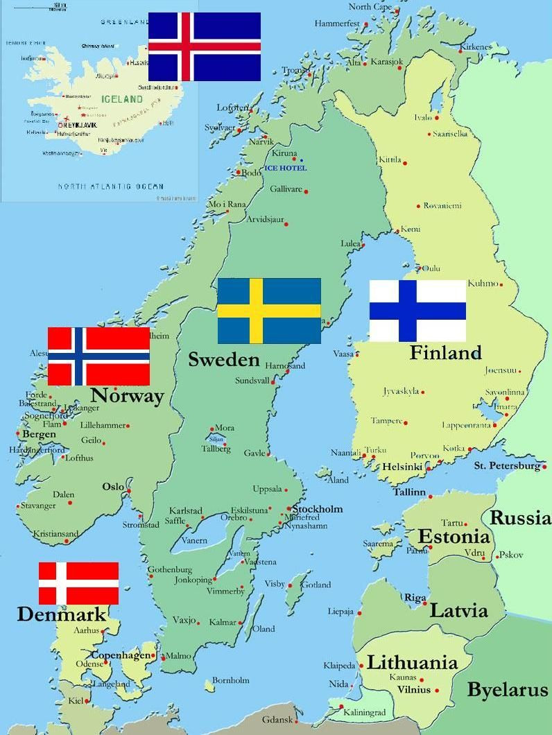 The 5 Scandinavian Countries Iceland Norway Finland Sweden and