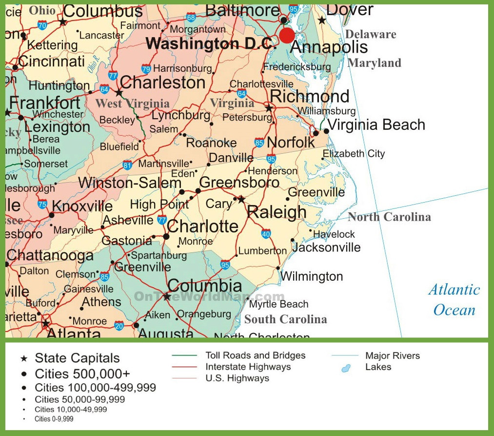 Printable Map Of north Carolina Fresh Map Of Virginia and north Carolina ï ¿