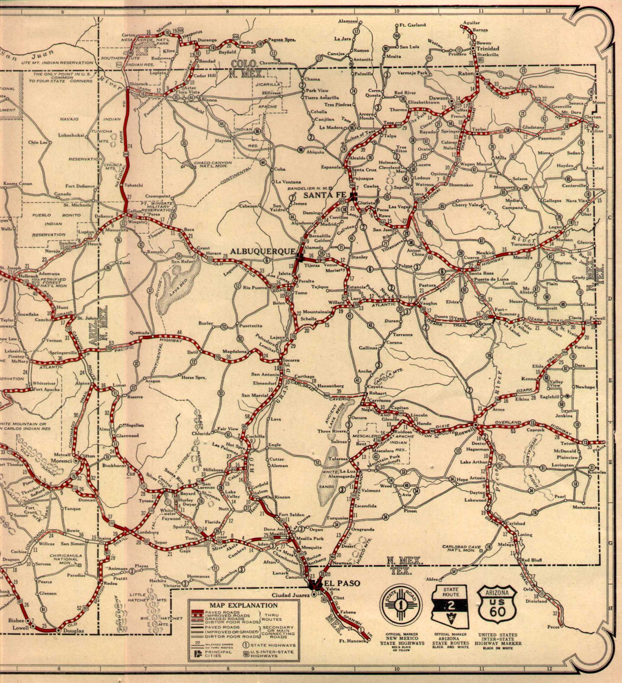 Route 66 on 1926 AZ NM map Maps Pinterest