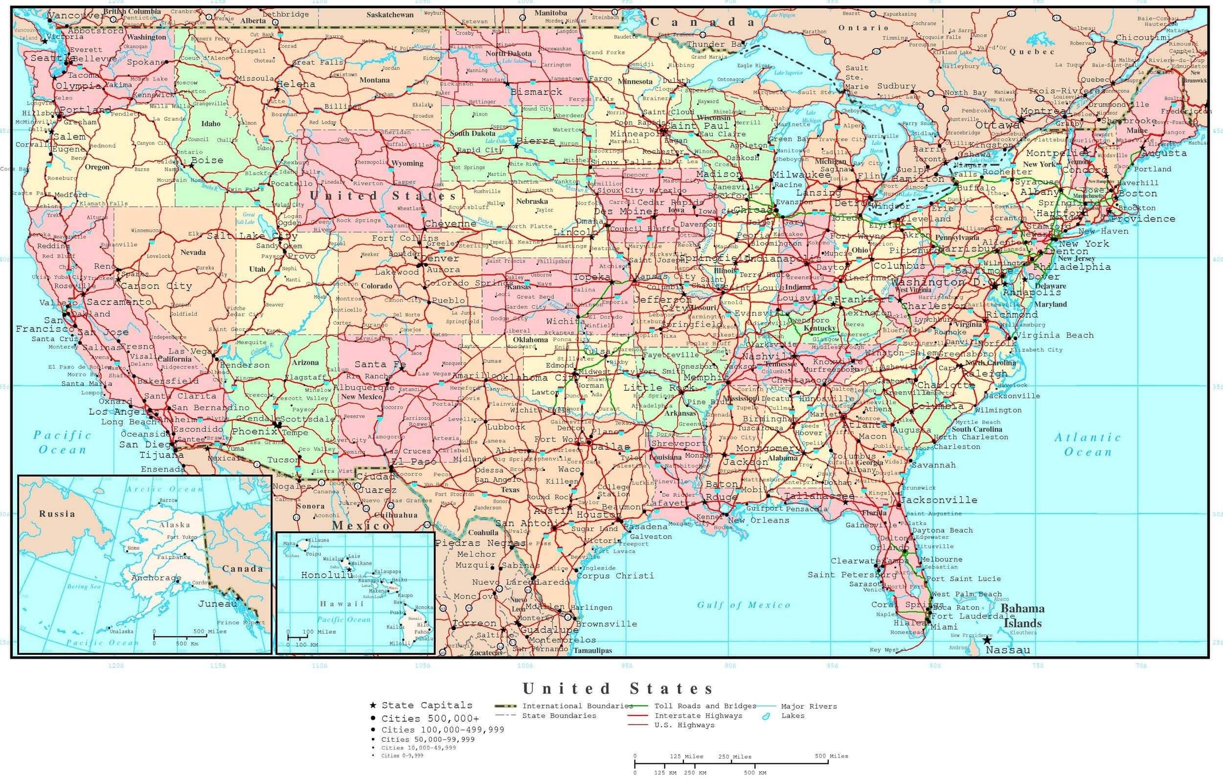 Printable Map Of the United States with Major Cities Fresh Usa Political Map Full Hd Maps Locations Another World