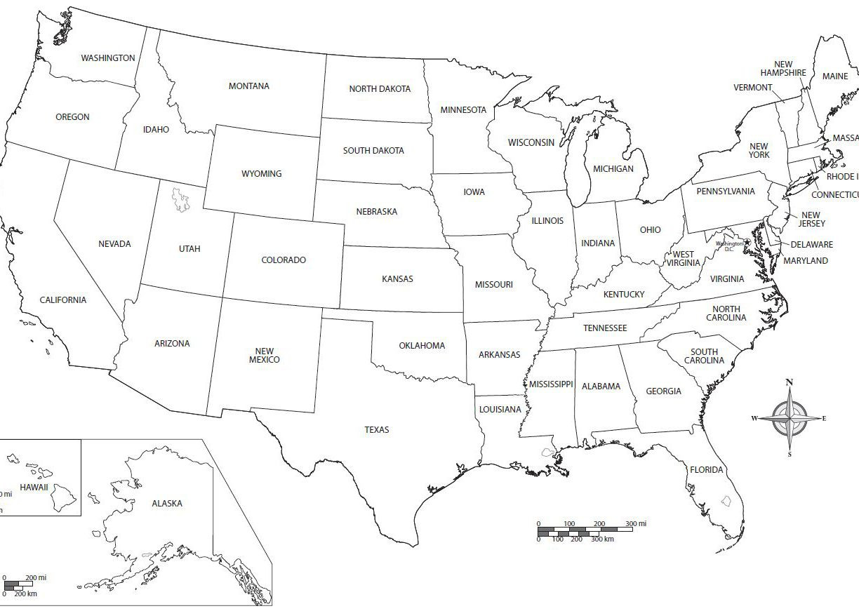 Us Map Coloring Page Printable With State Names line Free United In States