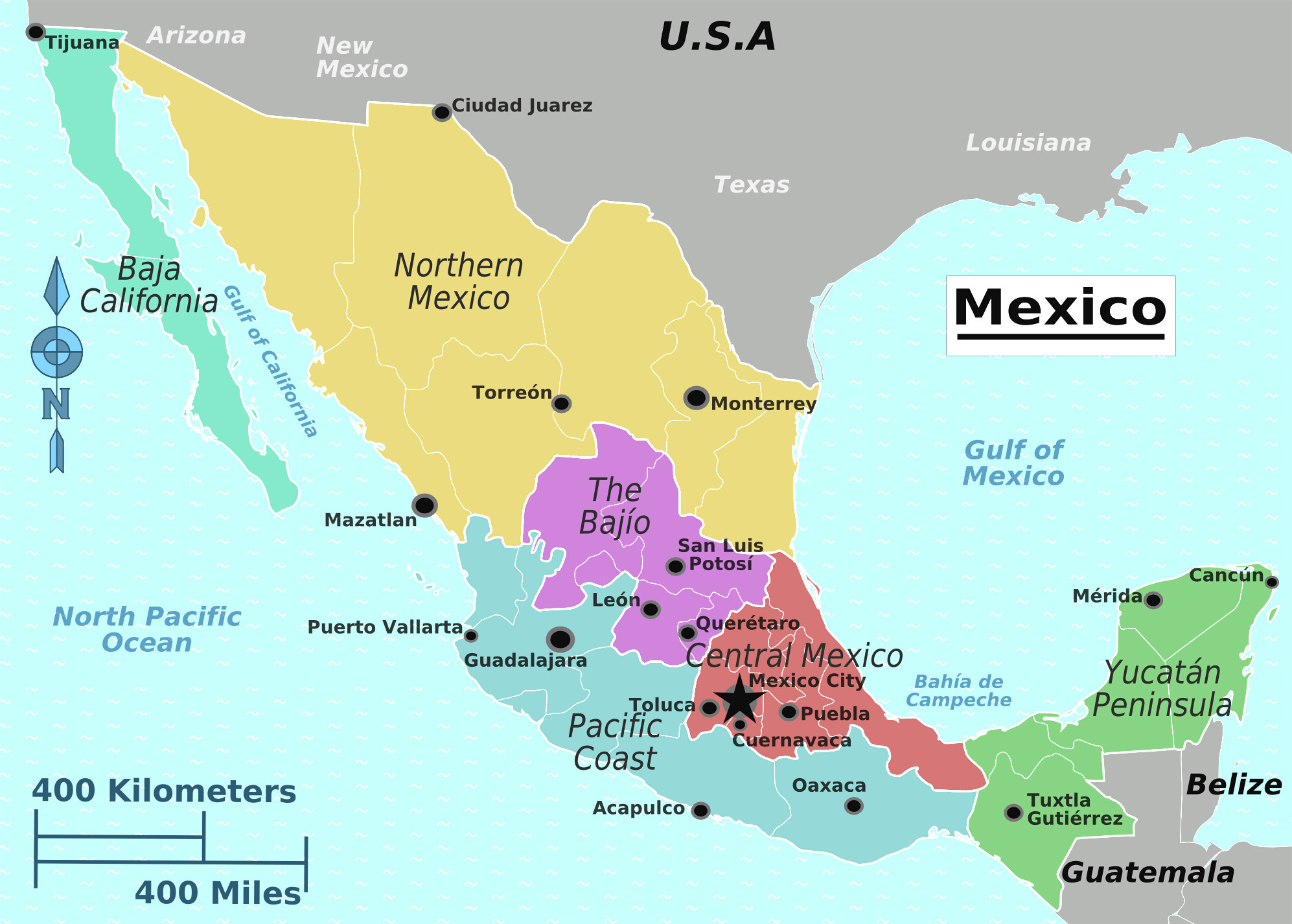 Baja California Peninsula Map Detailed Map Mexico Yucatan Region