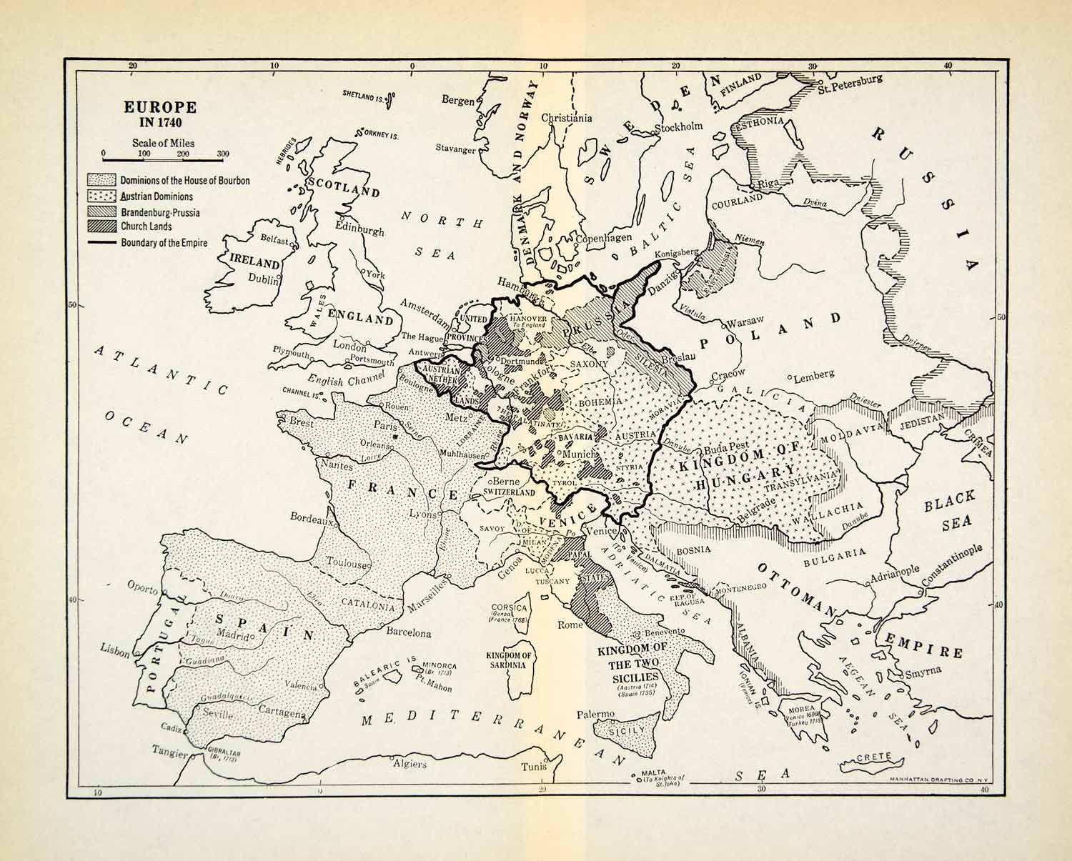 1931 Print Map Europe 1740 Ottoman Empire Bourbon France Austria Prussia XEBA8 Period Paper