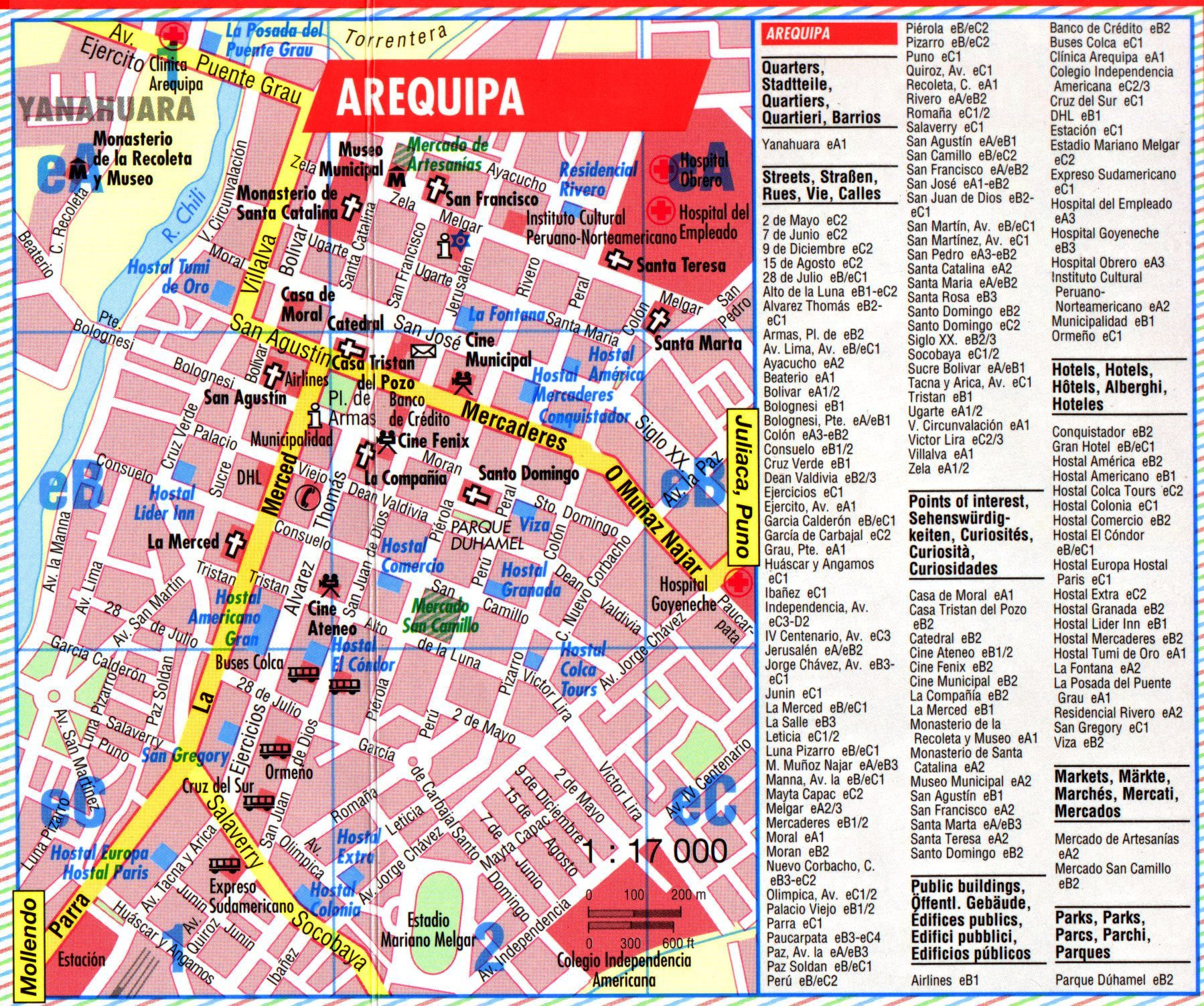 Printable Map Peru Luxury Arequipa Tourist Map Arequipa Peru • Mappery Peru