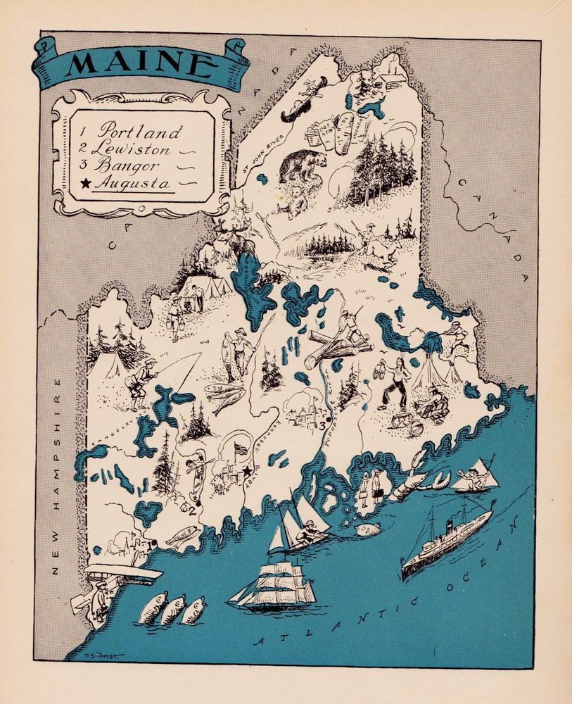 Printable Map Portland Maine Unique Rare Maine Map Funky 1930s Original Map Of Maine Whimsical Map Blu
