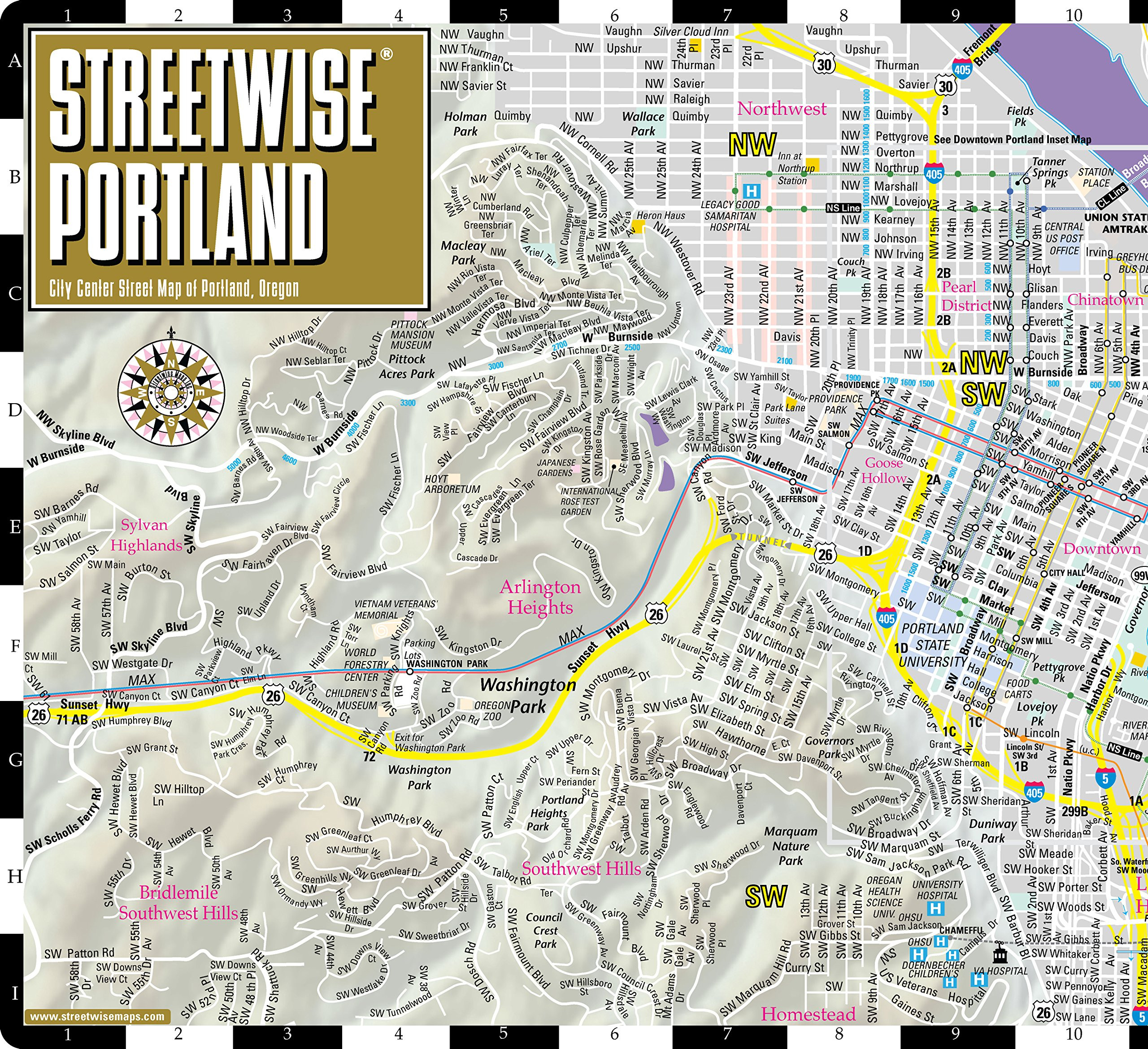 Streetwise Portland Map Laminated City Center Street Map of Portland Oregon Folding pocket size travel map with Max Light Rail map Streetwise Maps