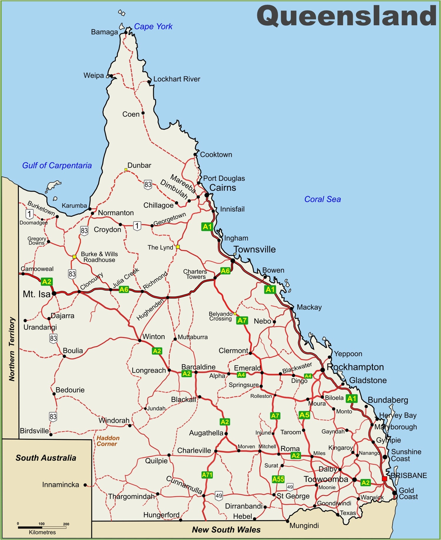 Download Queensland Australia Map Map Gold Coast Queensland Australia Queensland Australia Map 8 Highway