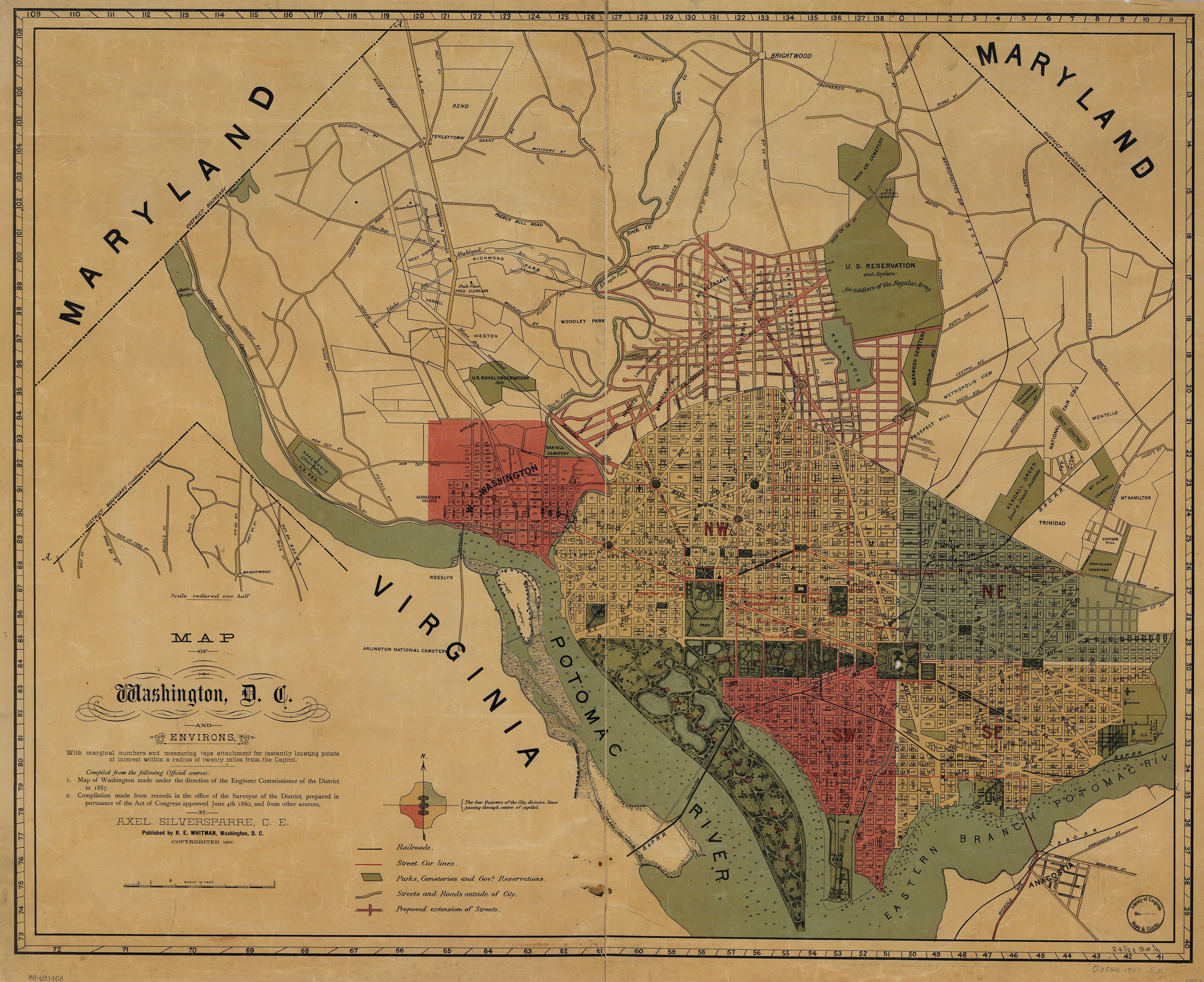 1887 map of Washington D C and environs with marginal numbers
