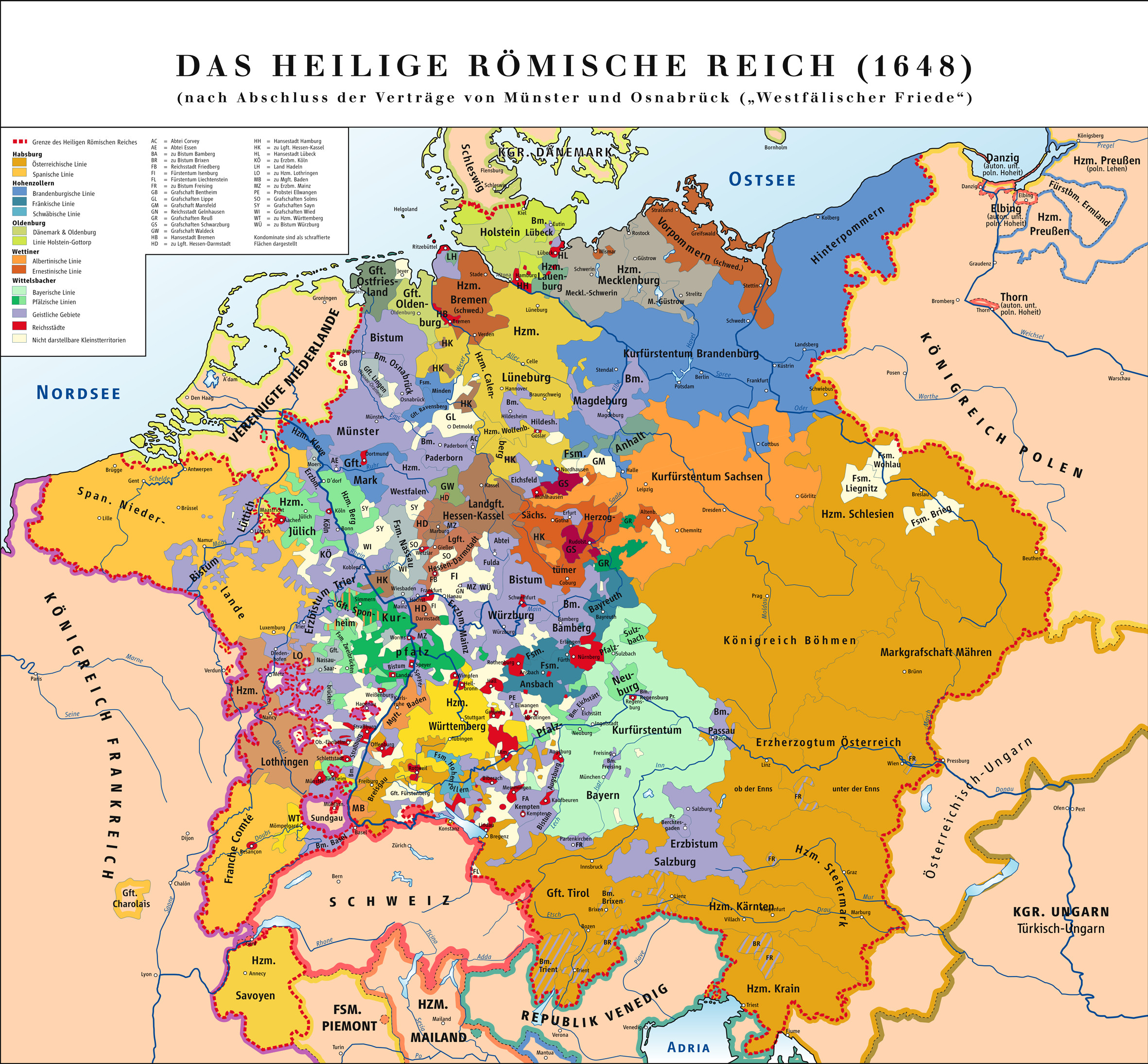 "Map of Holy Roman Empire in 1648 ""The Holy Roman Empire was a multi"