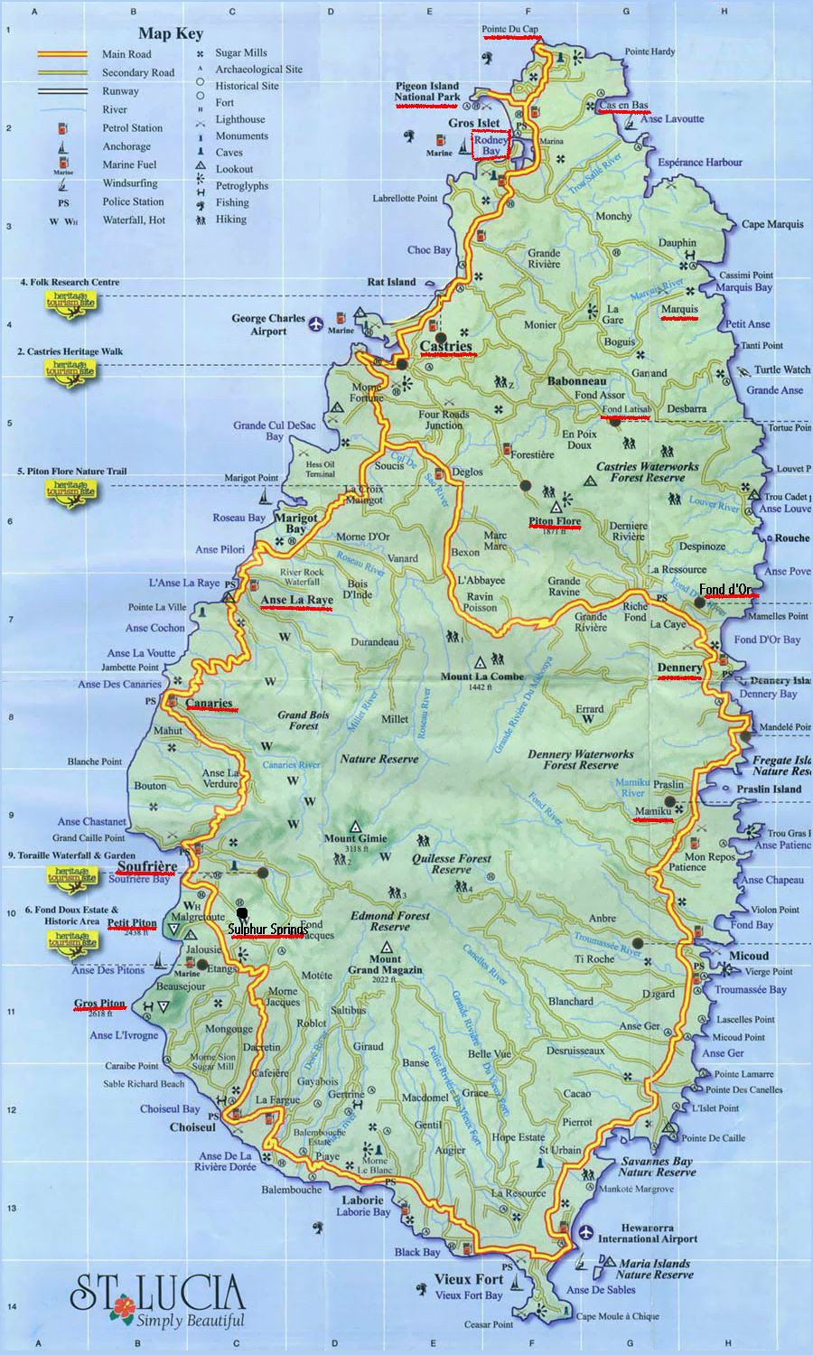 detailed road map of Saint Lucia Saint Lucia large detailed road map
