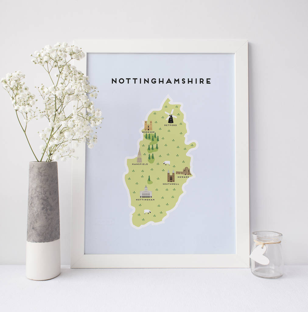 Printable Map Scotland Best Of Map Of Nottinghamshire Print by Pepper Pot Studios