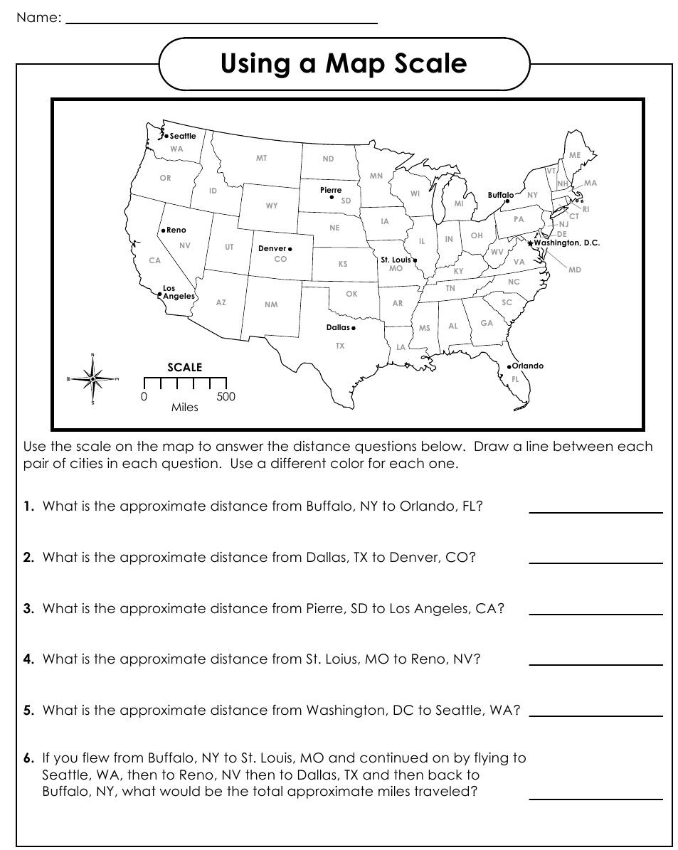 Printable Map Skills Worksheets Awesome Using A Map Scale … Things for Class
