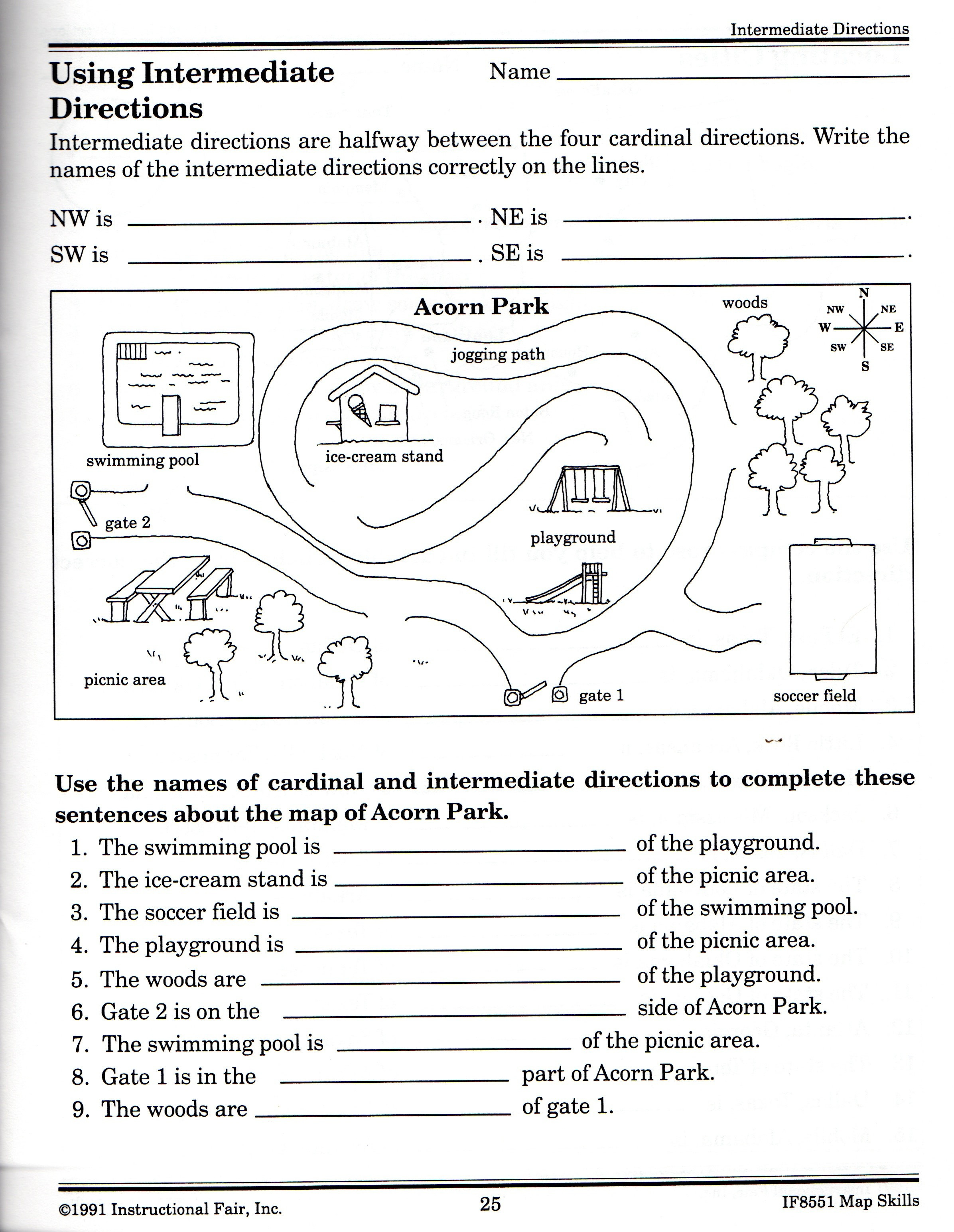 Map Worksheet Middle School Best Download Printable Map Directions