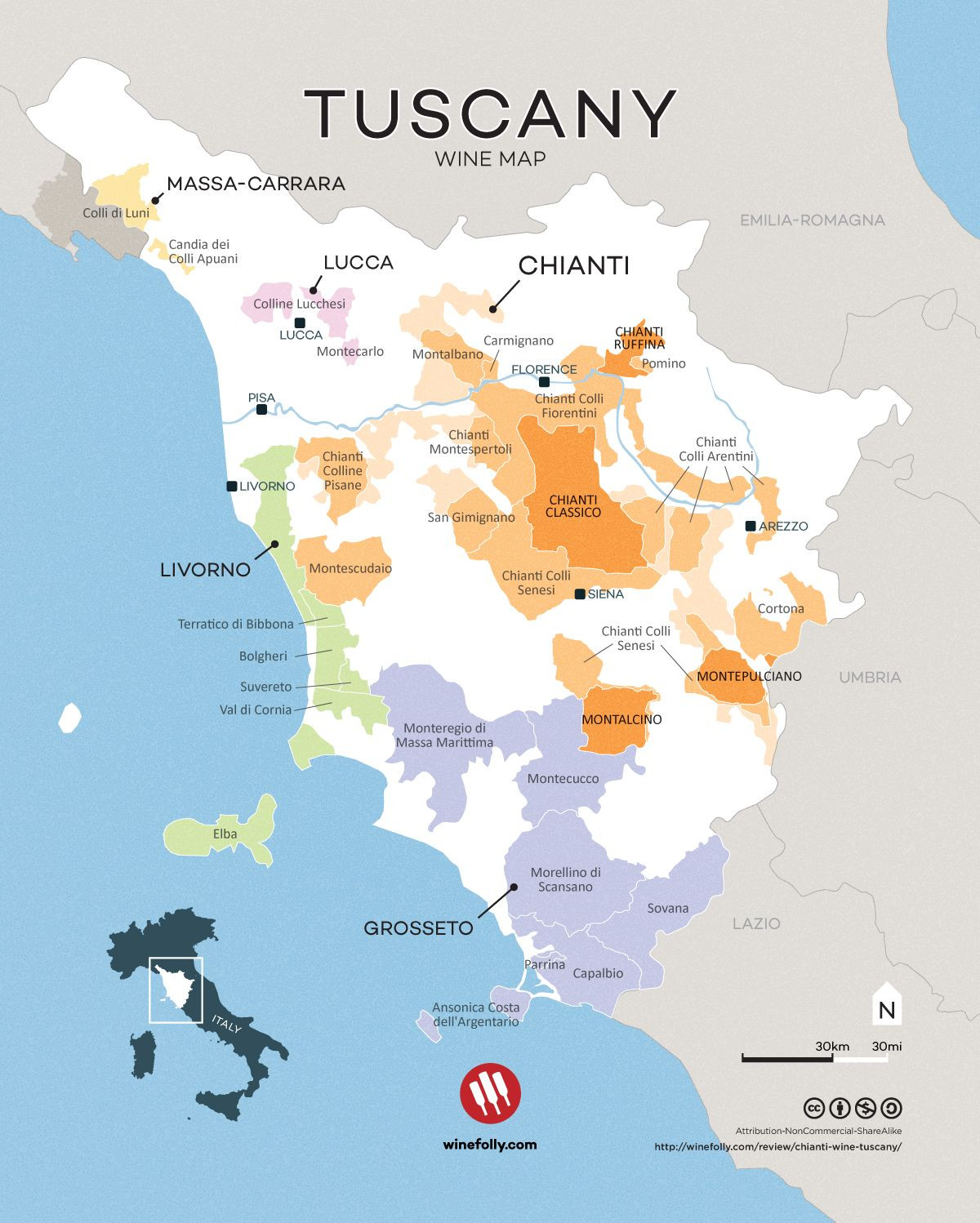 Printable Map Tuscany Inspirational Chianti Wine The Taste Region And Classic Pairings