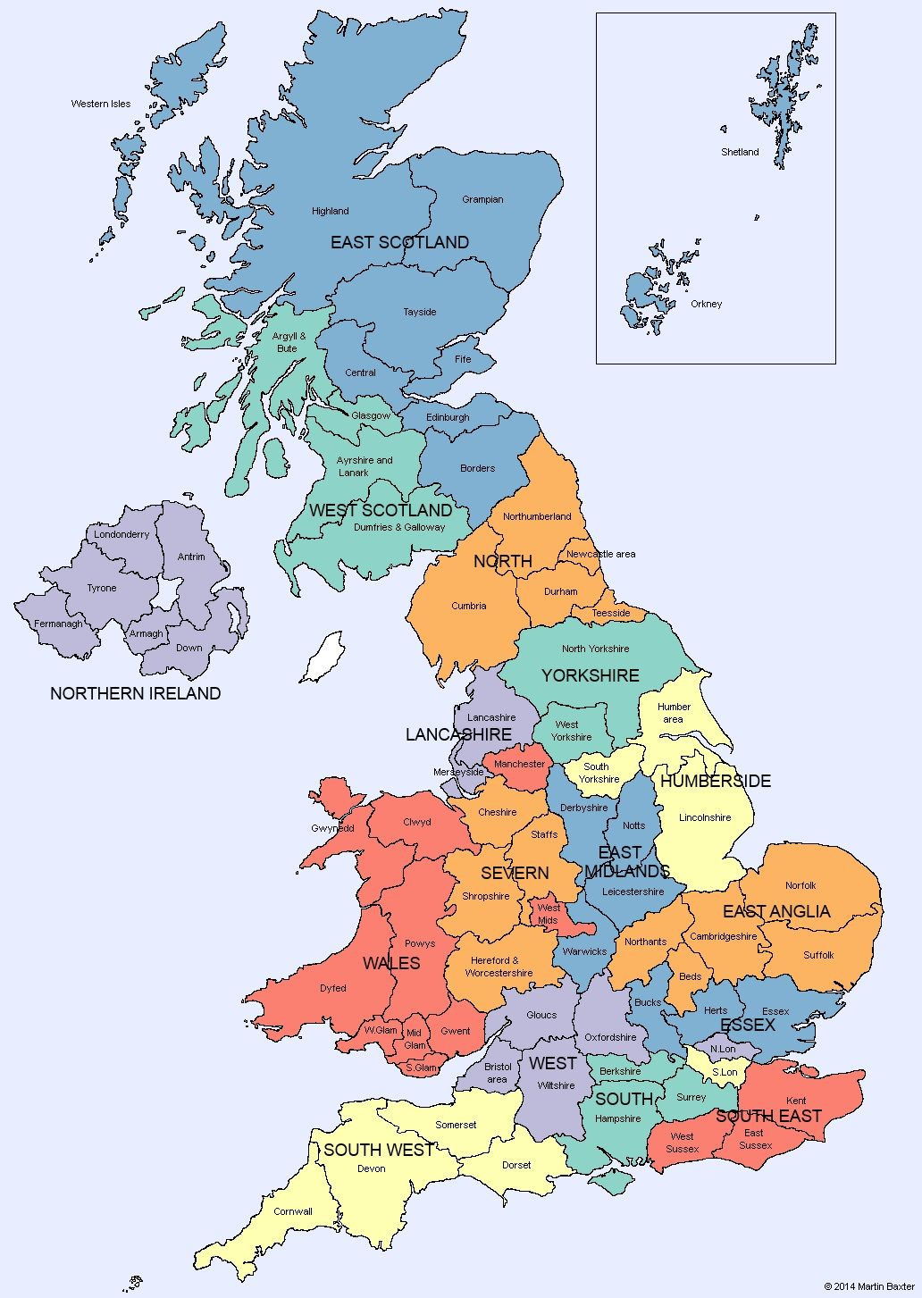 U K Map of Regions and Counties of England Scotland Wales and