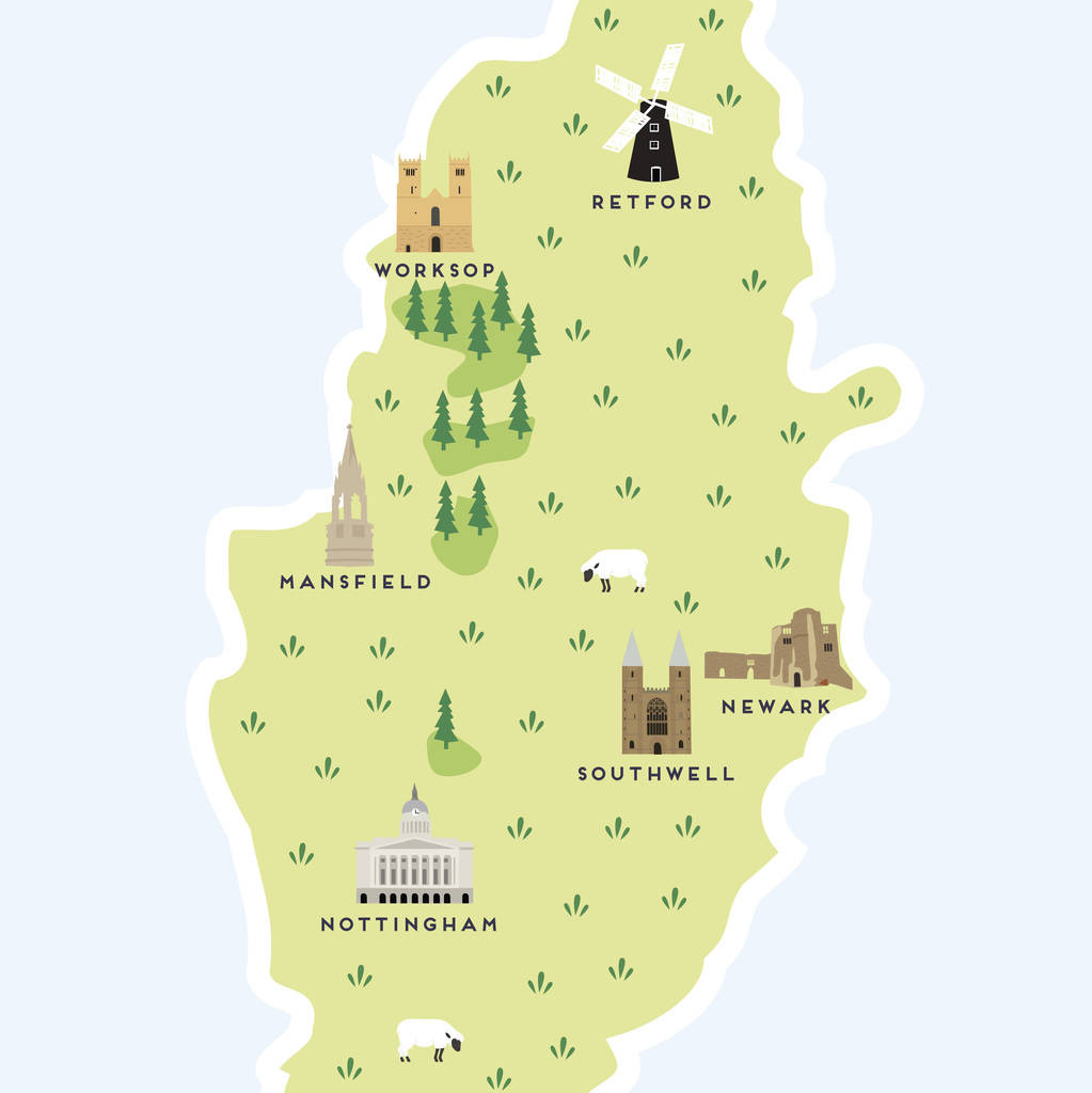 Printable Map Uk New Map Of Nottinghamshire Print By Pepper Pot Studios