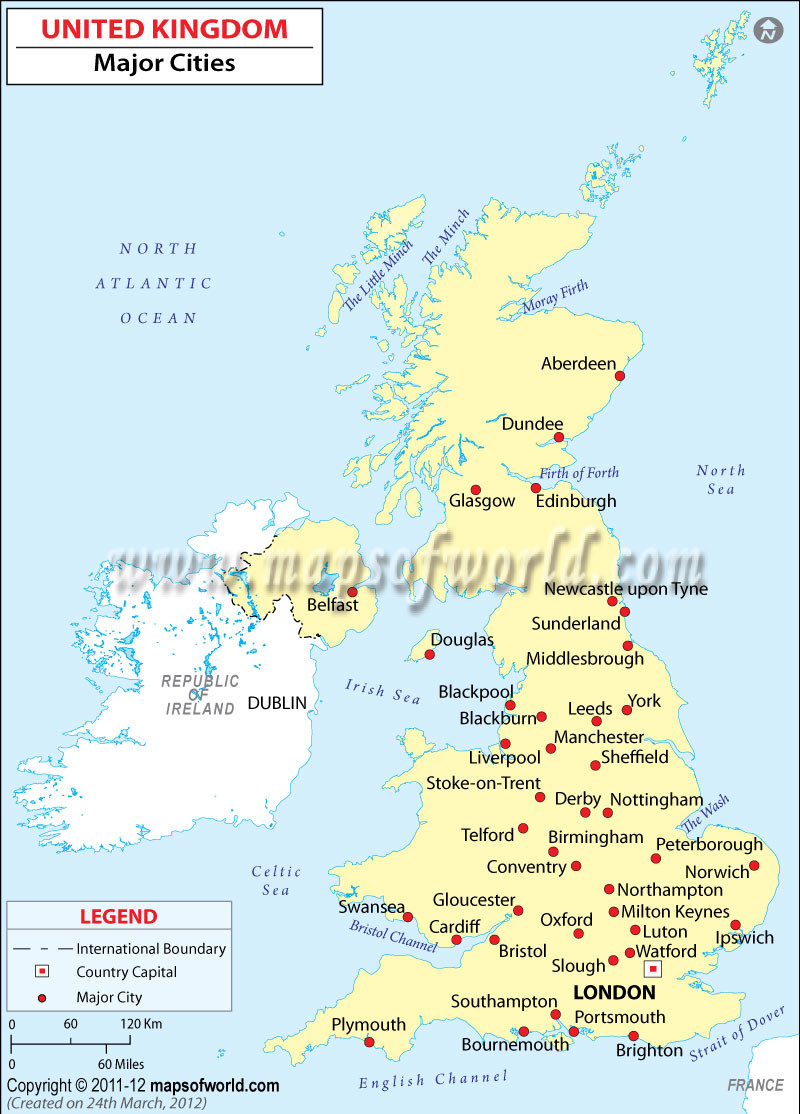 Printable Map Uk New United Kingdom Major Cities Location Map
