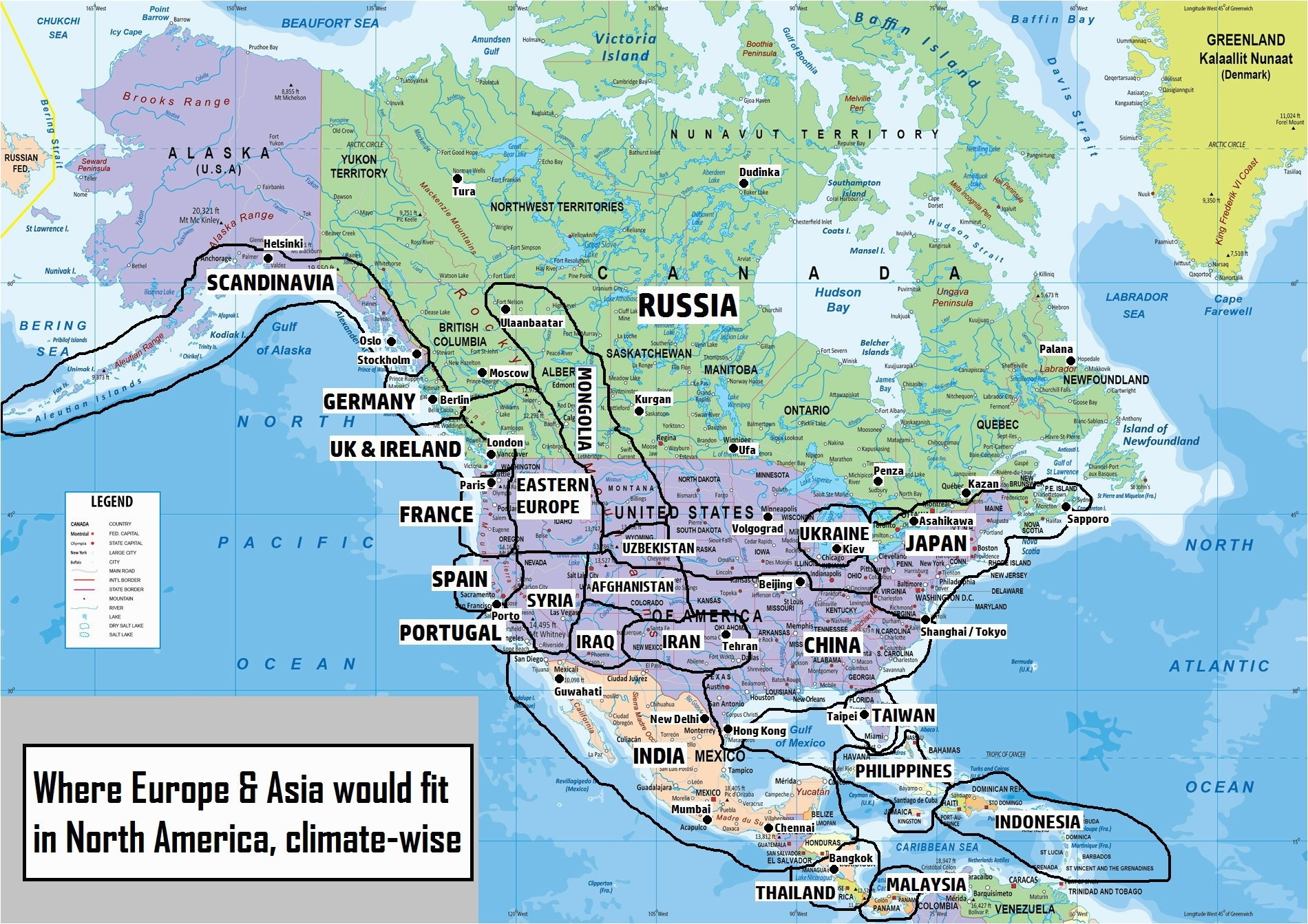 Political Map north America Printable Us Canada Map with Cities Save
