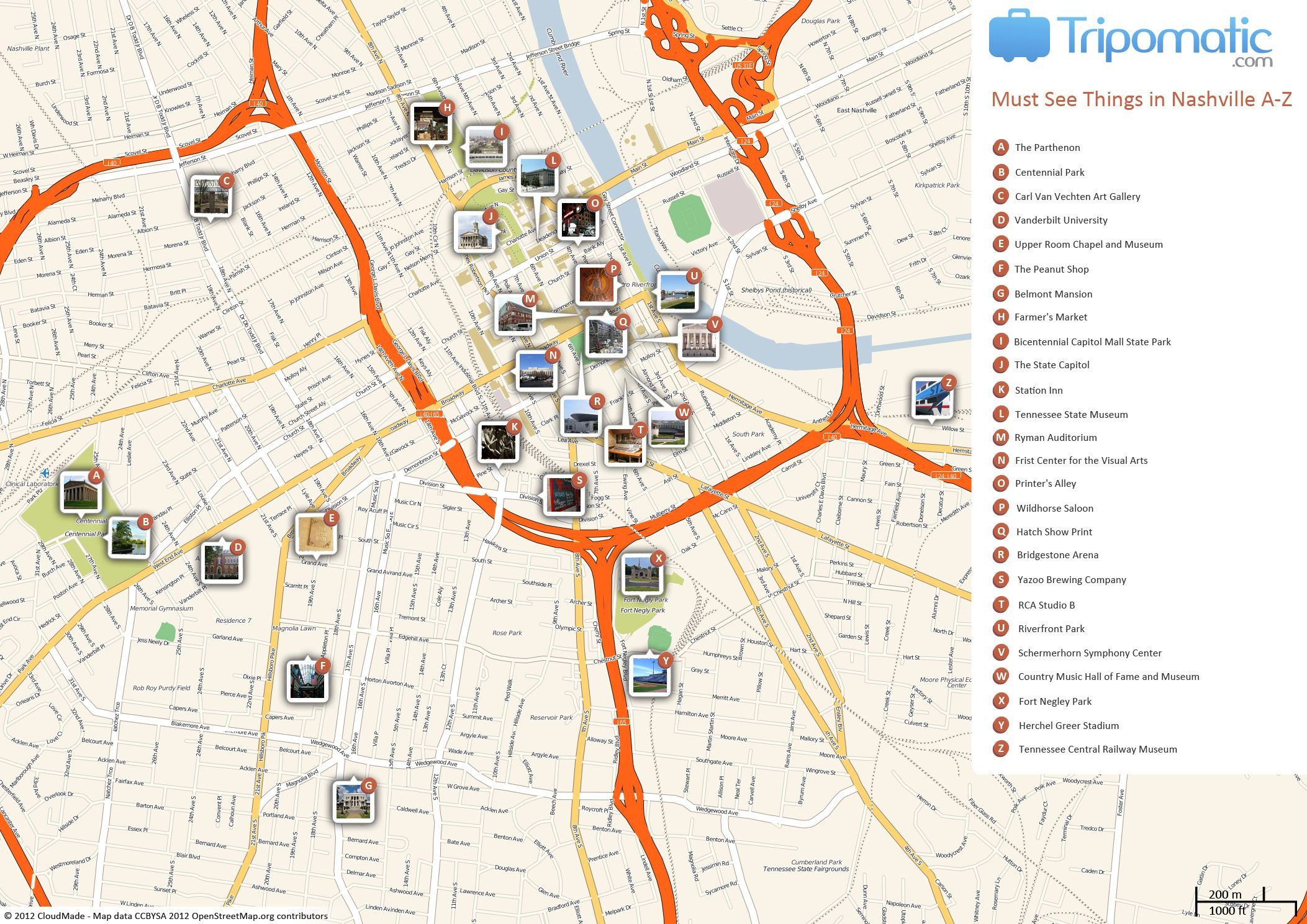Free Printable Map of Nashville attractions